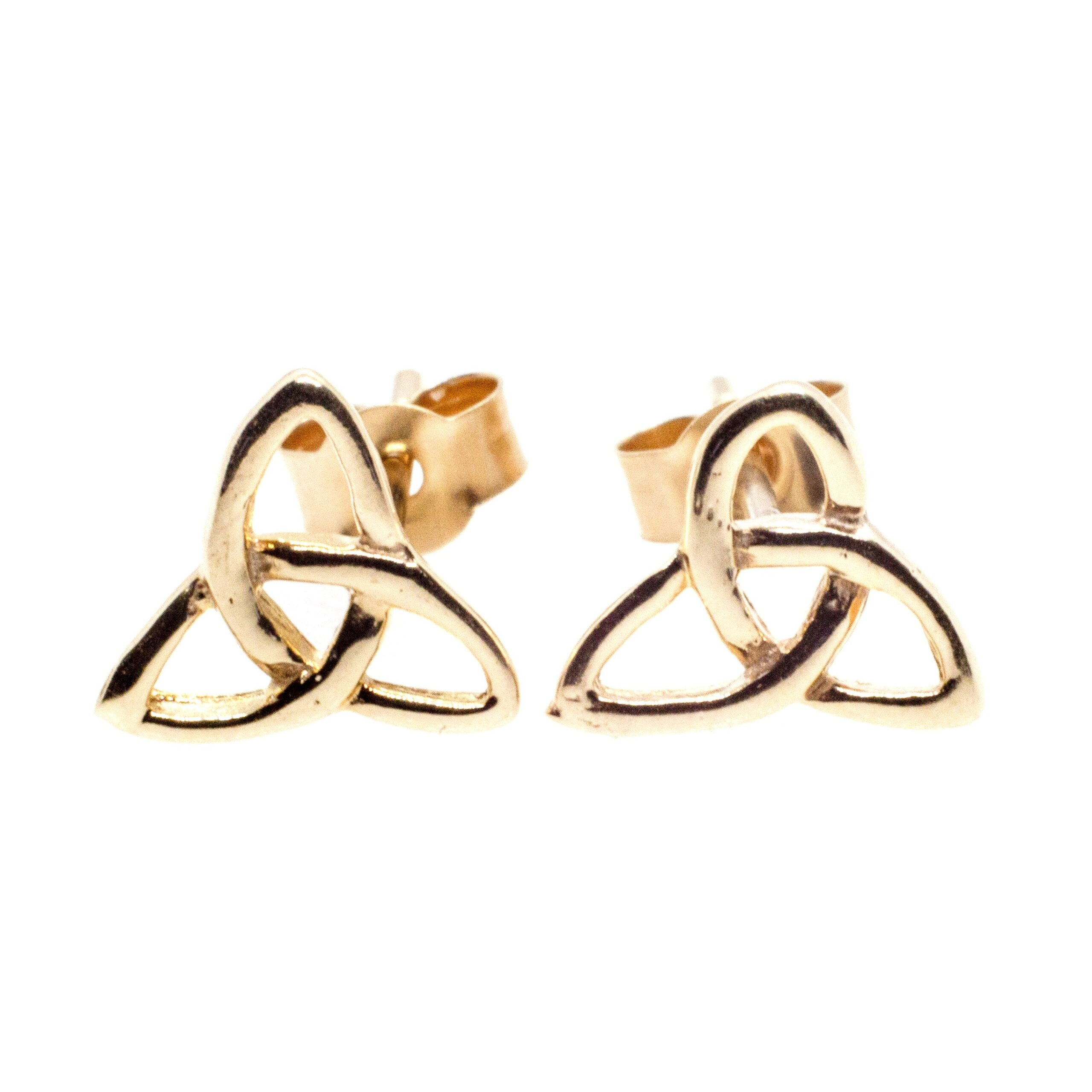 9ct gold infinity triangle earrings full on