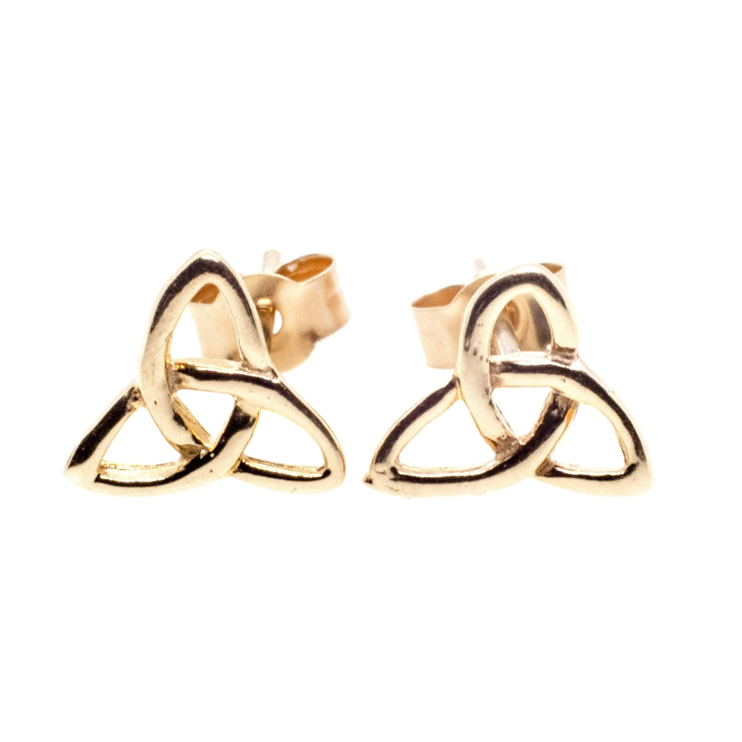 9ct gold infinity triangle stud earrings
