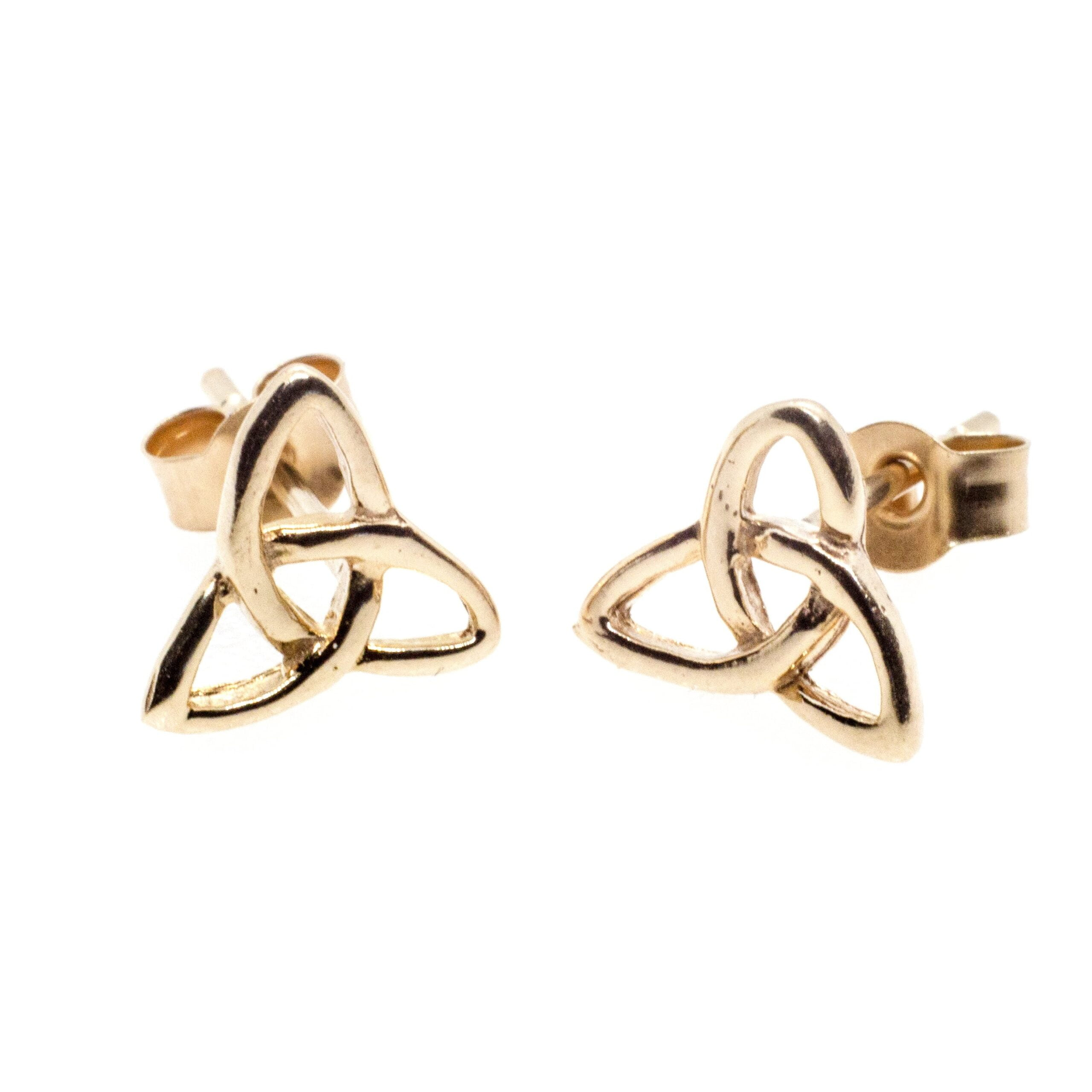 9ct gold infinity triangle earrings