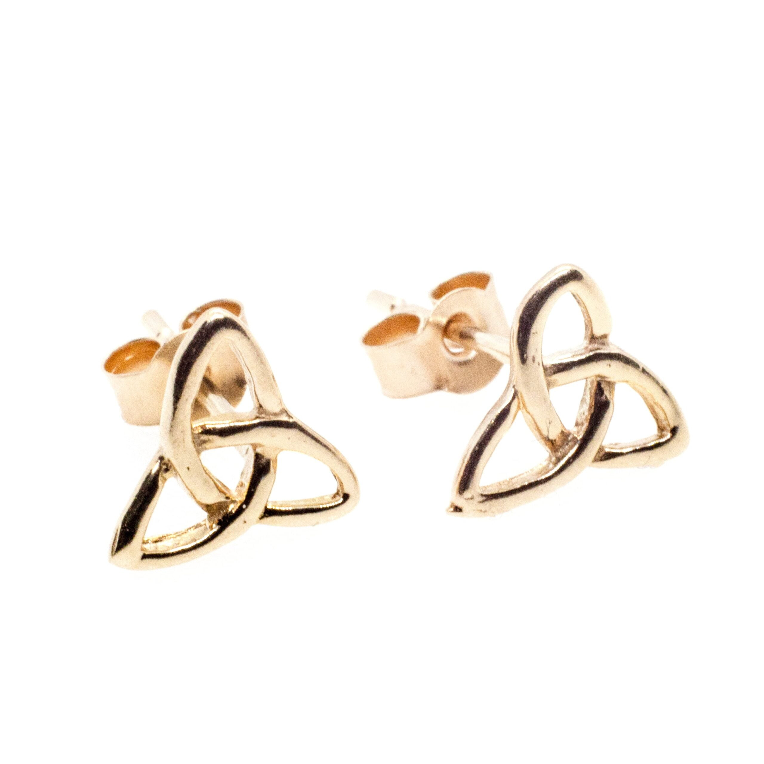 9ct gold celtic triangle earrings