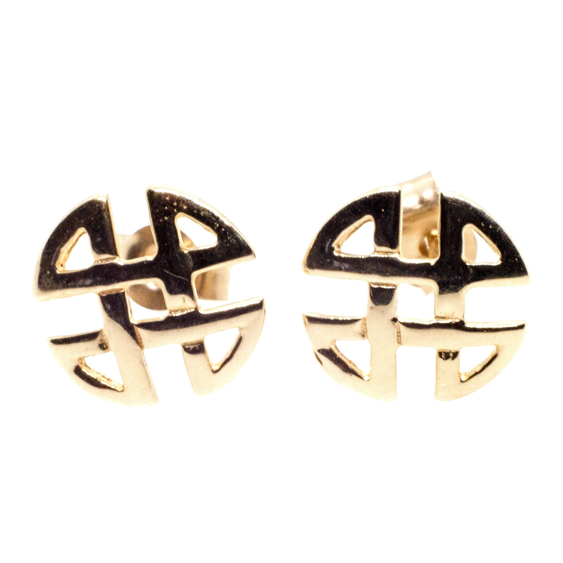 9ct gold celtic knot round stud earrings