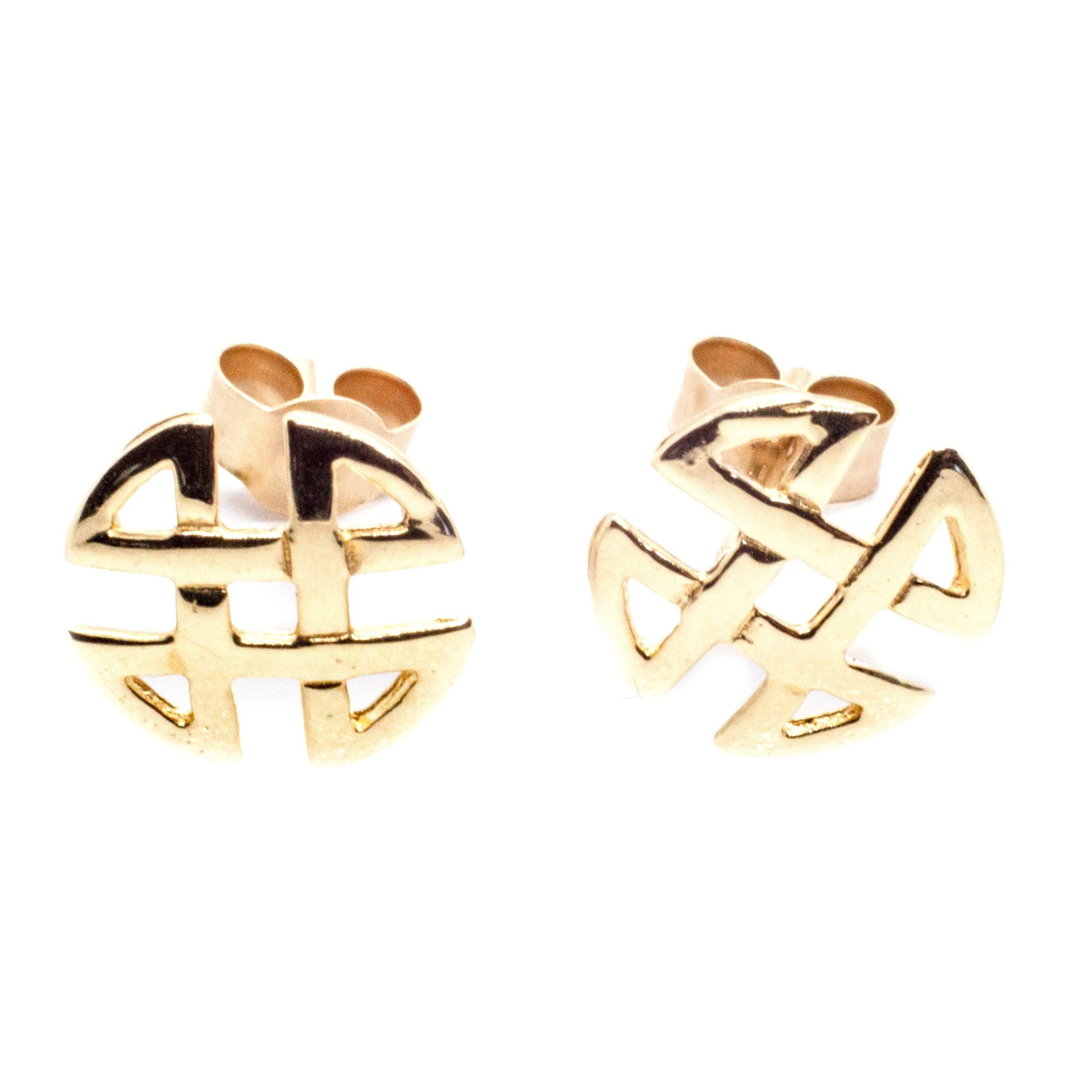 9ct gold celtic knot round earrings