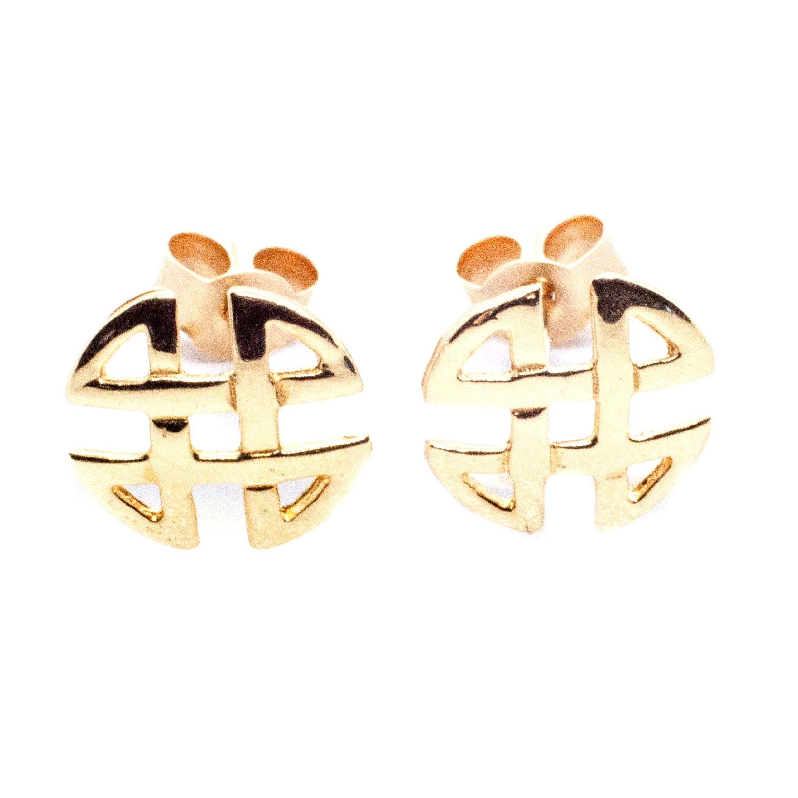 9ct gold celtic knot stud earrings