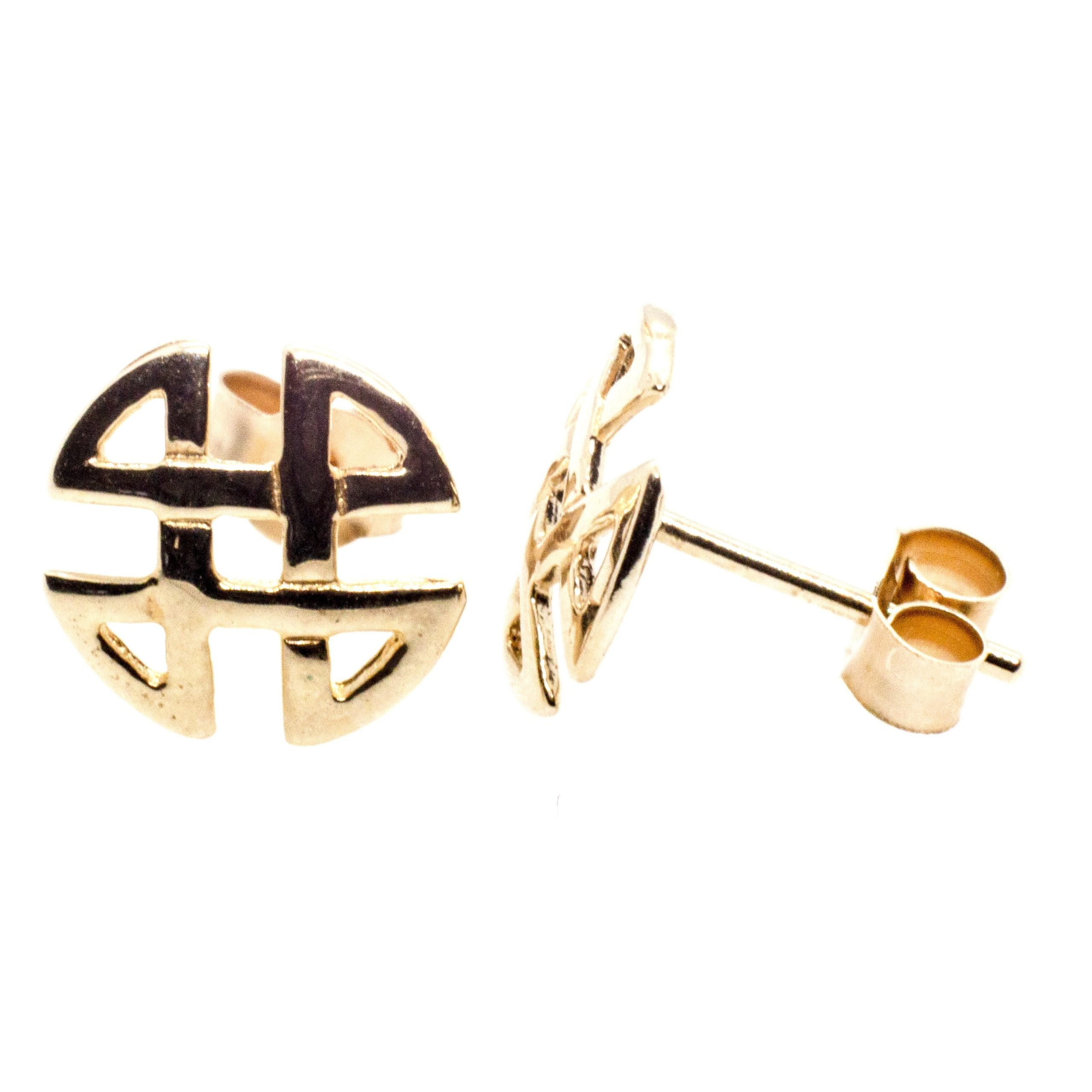 9ct gold celtic knot round stud earrings side
