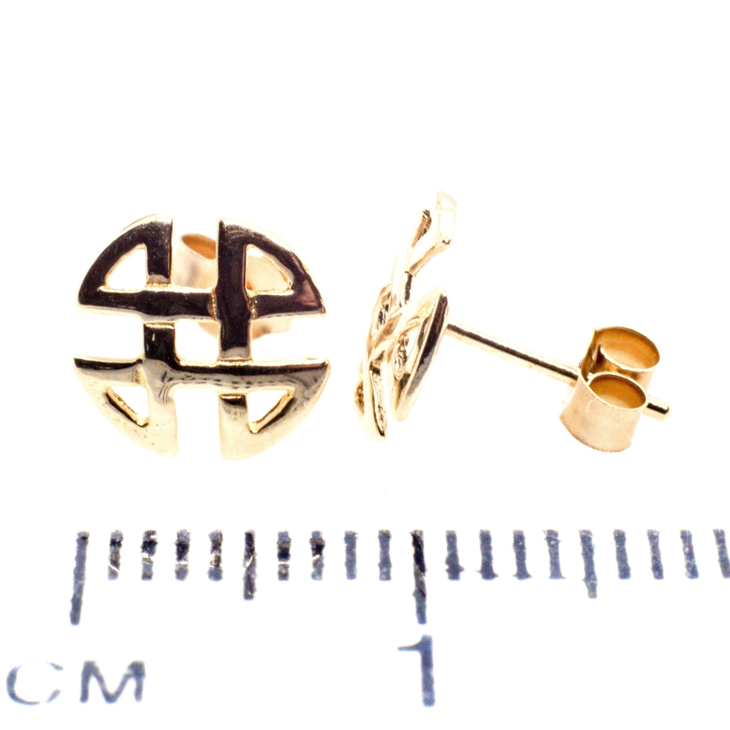 9ct gold celtic knot round stud earrings ruler
