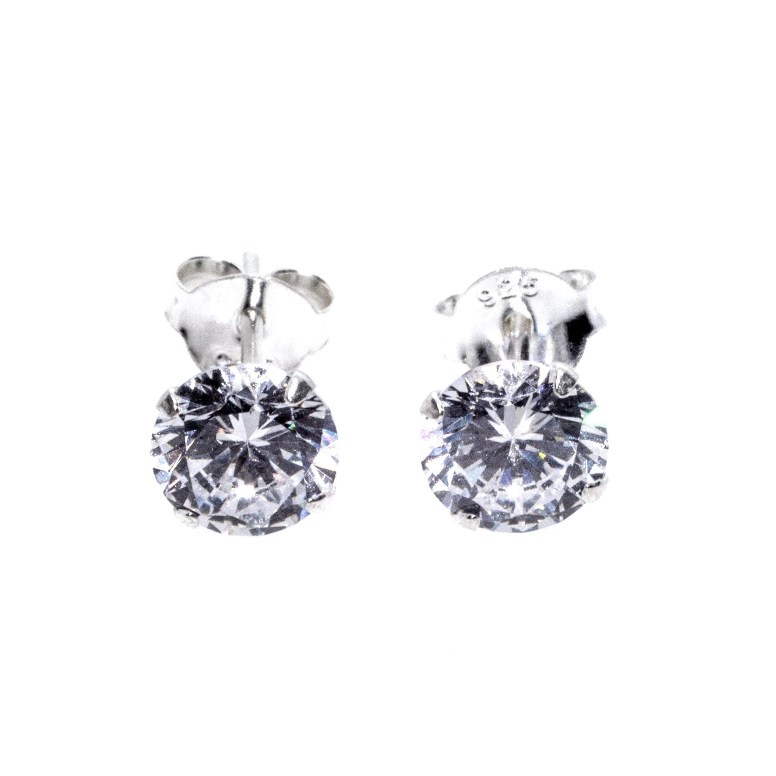 silver cz stud 6mm earrings alt 3