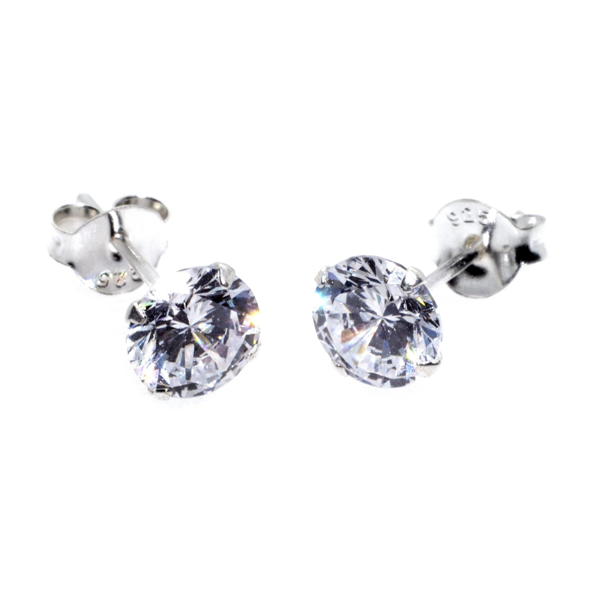 silver cz stud 6mm earrings alt 2