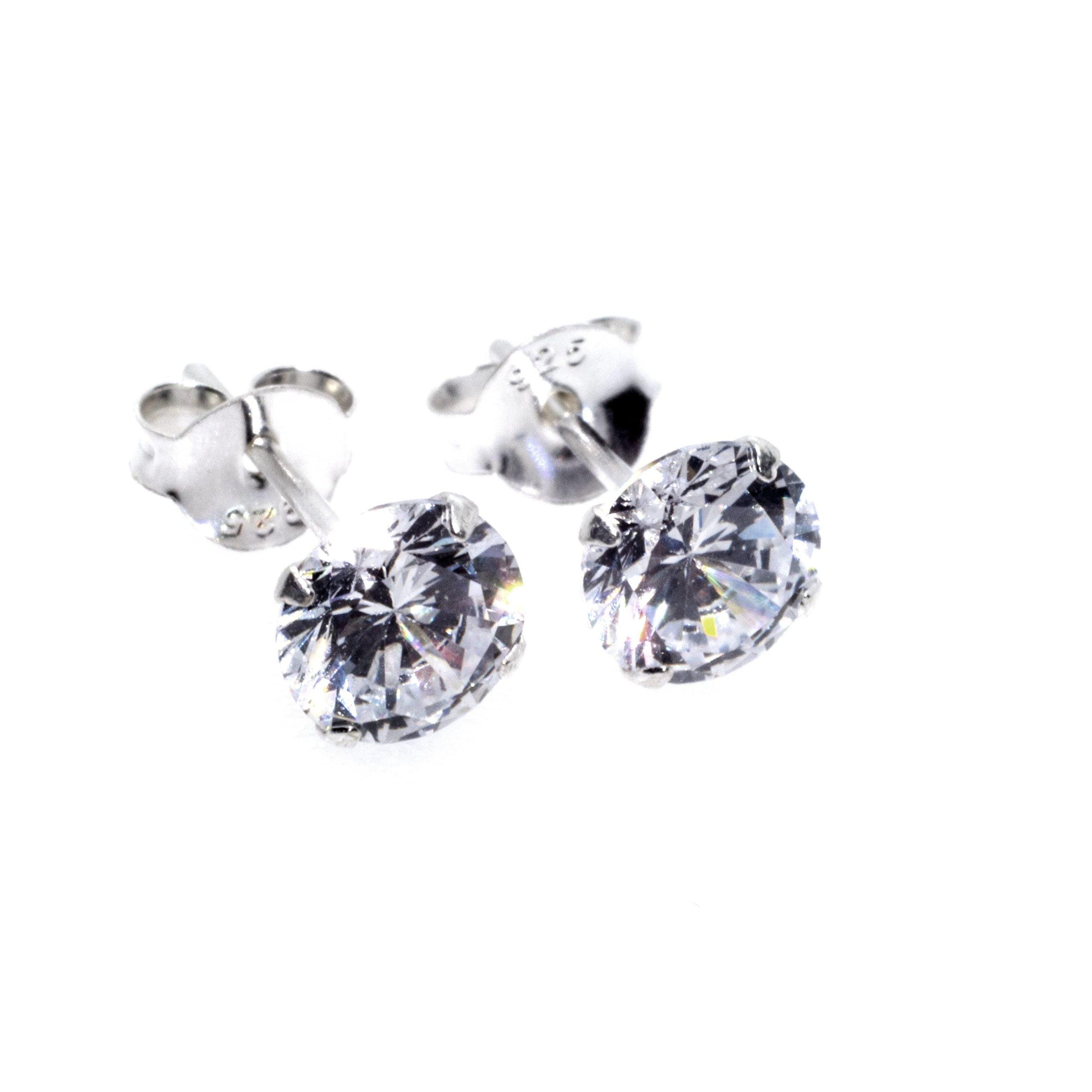 silver cz stud 6mm earrings alt 1