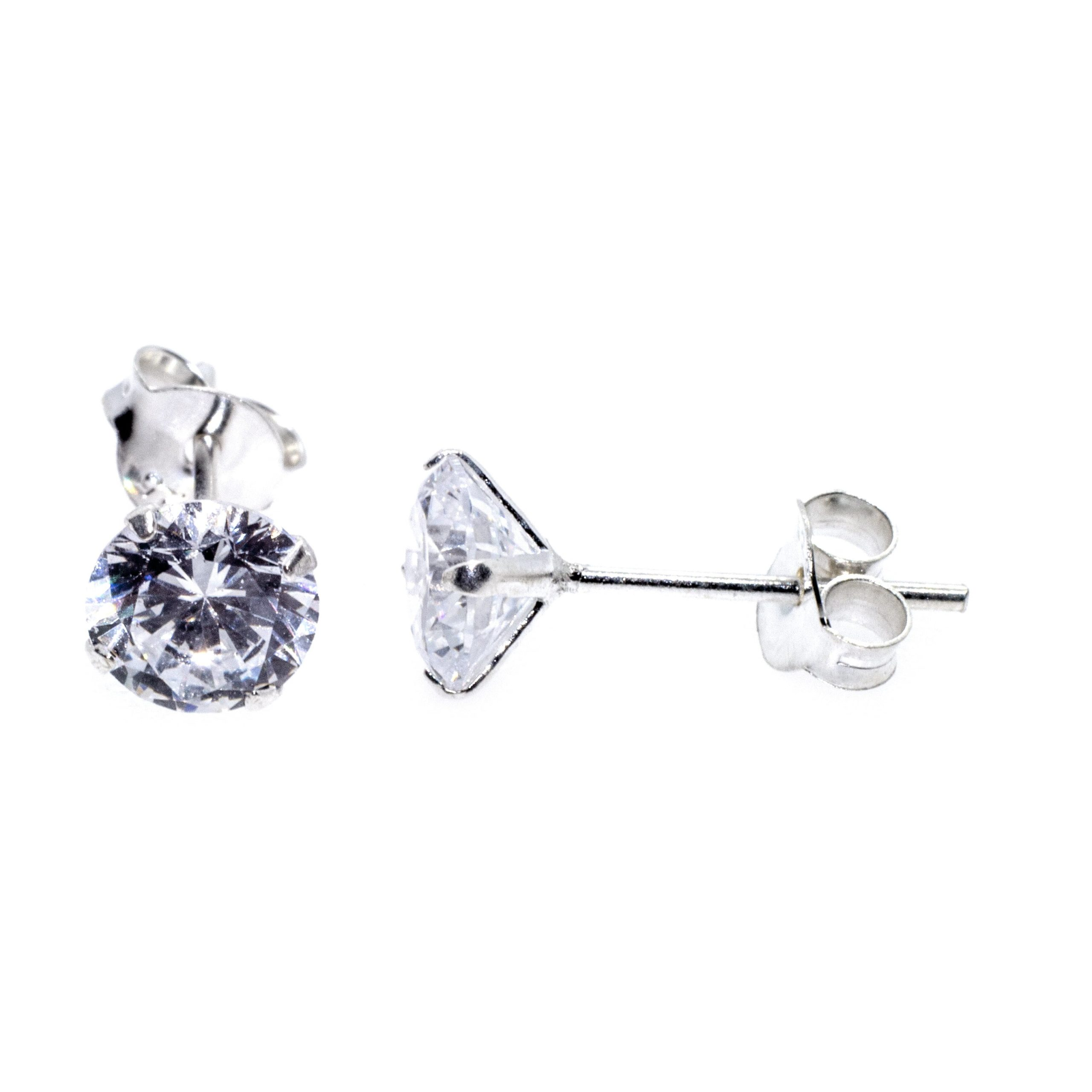silver cz stud 6mm earrings