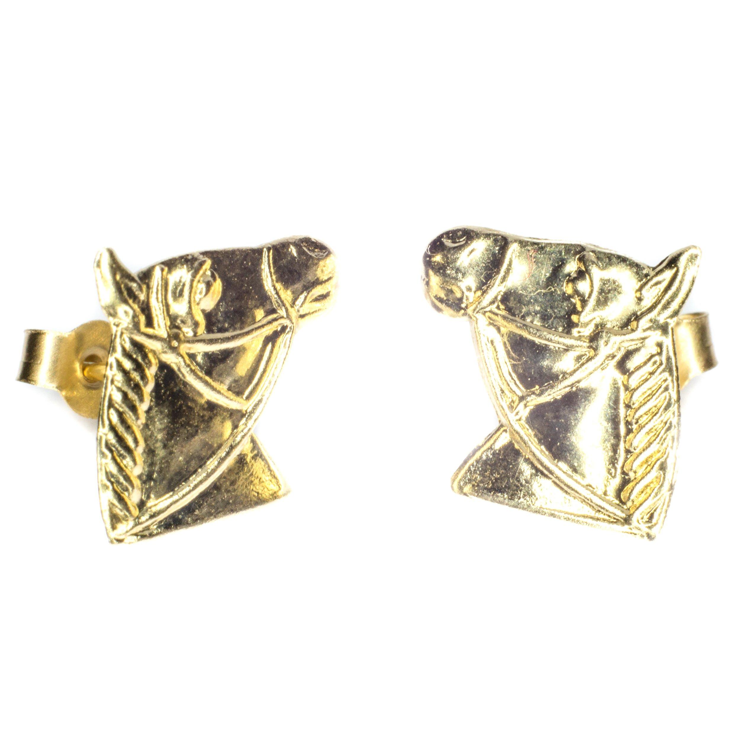 10mm horse head 9ct yellow gold stud earrings alt 2