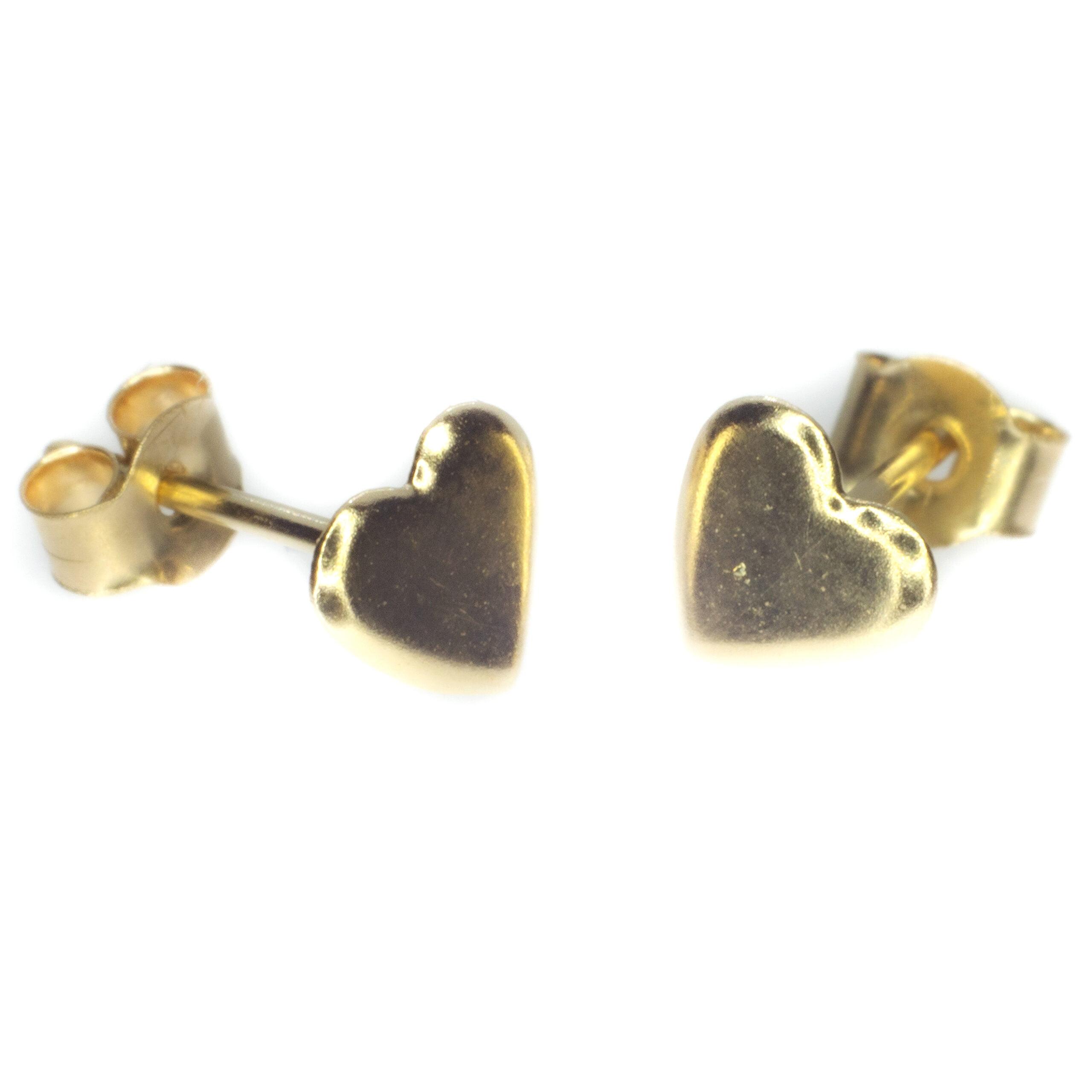 gold heart stud earrings 9ct yellow gold alt3
