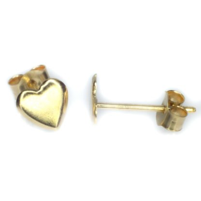 gold heart stud earrings 9ct yellow gold alt2