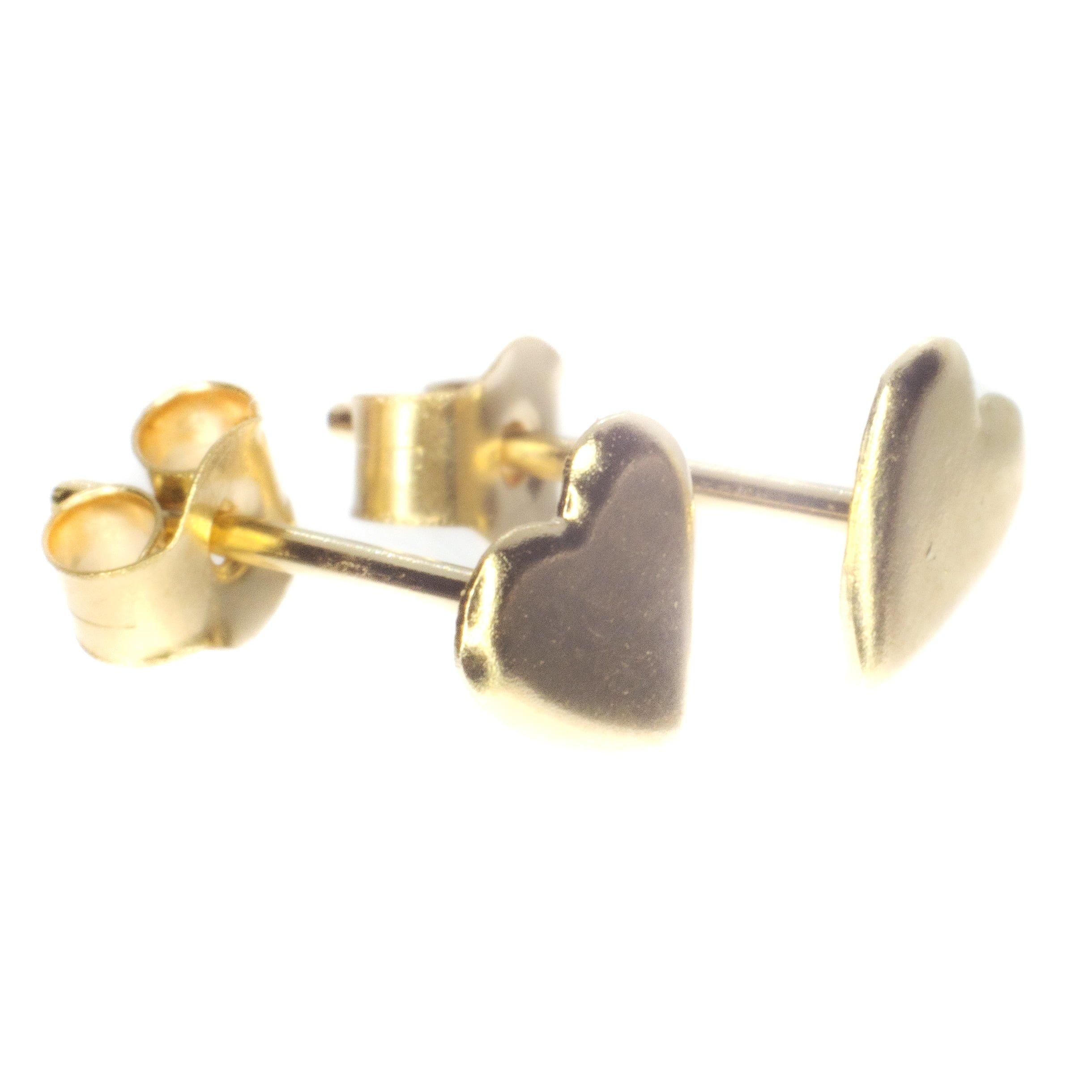 gold heart stud earrings 9ct yellow gold alt1