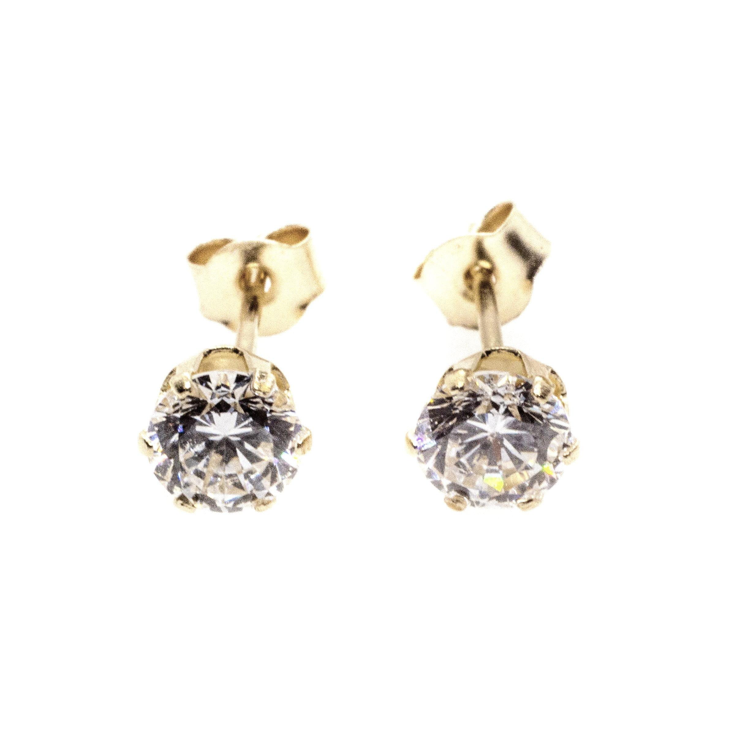 3mm CZ stud earrings 9ct yellow gold alt 4