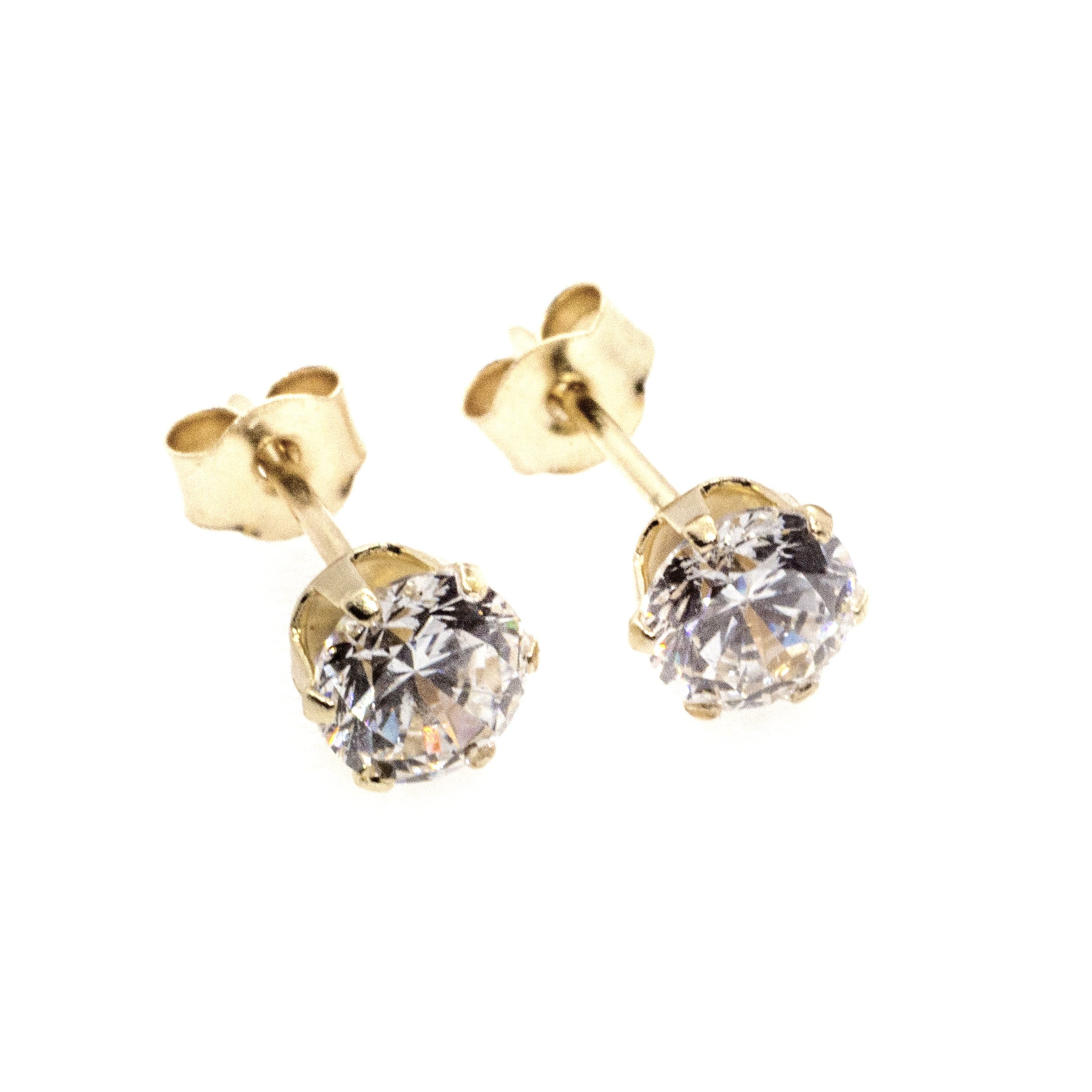 3mm CZ stud earrings 9ct yellow gold