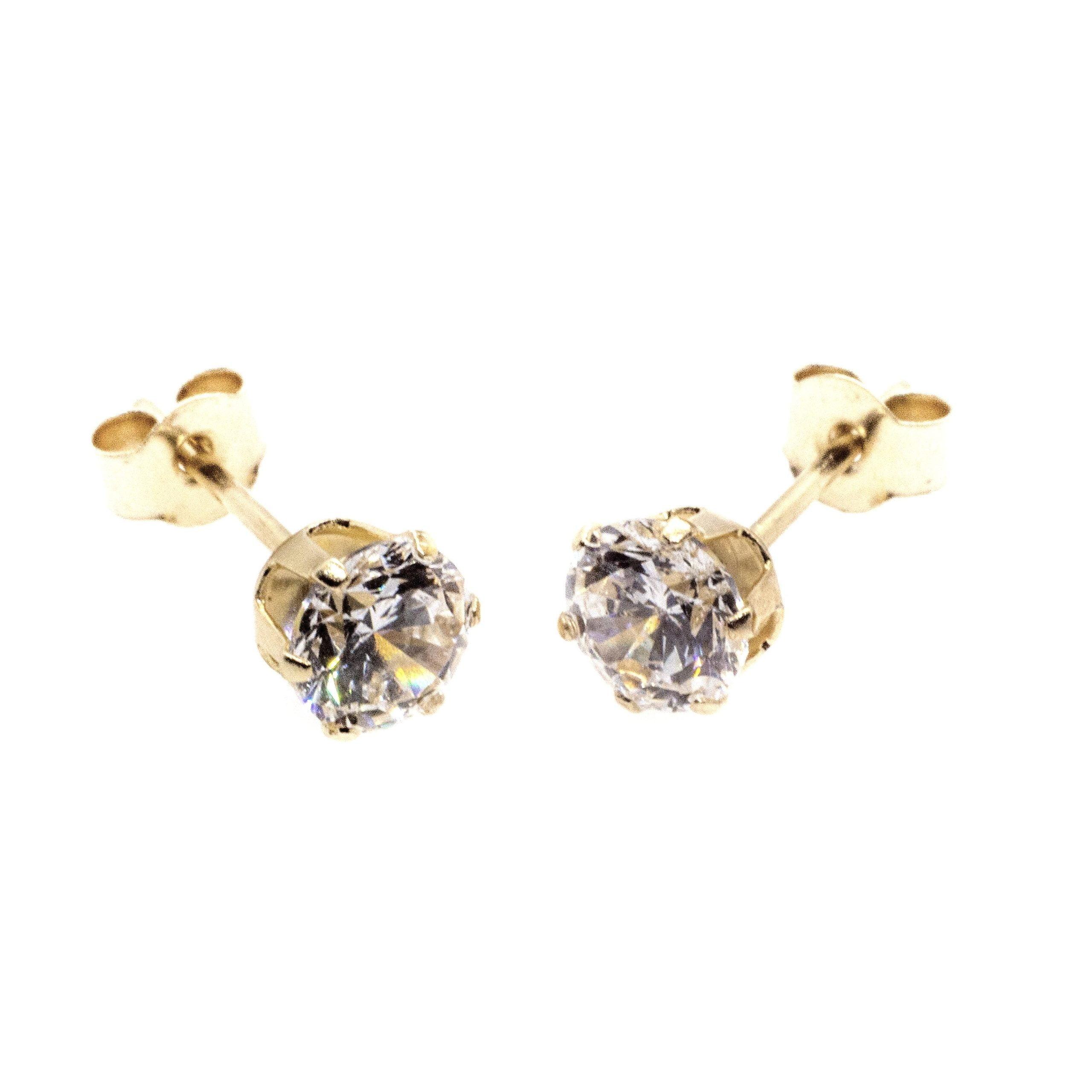 3mm CZ stud earrings 9ct yellow gold alt 3