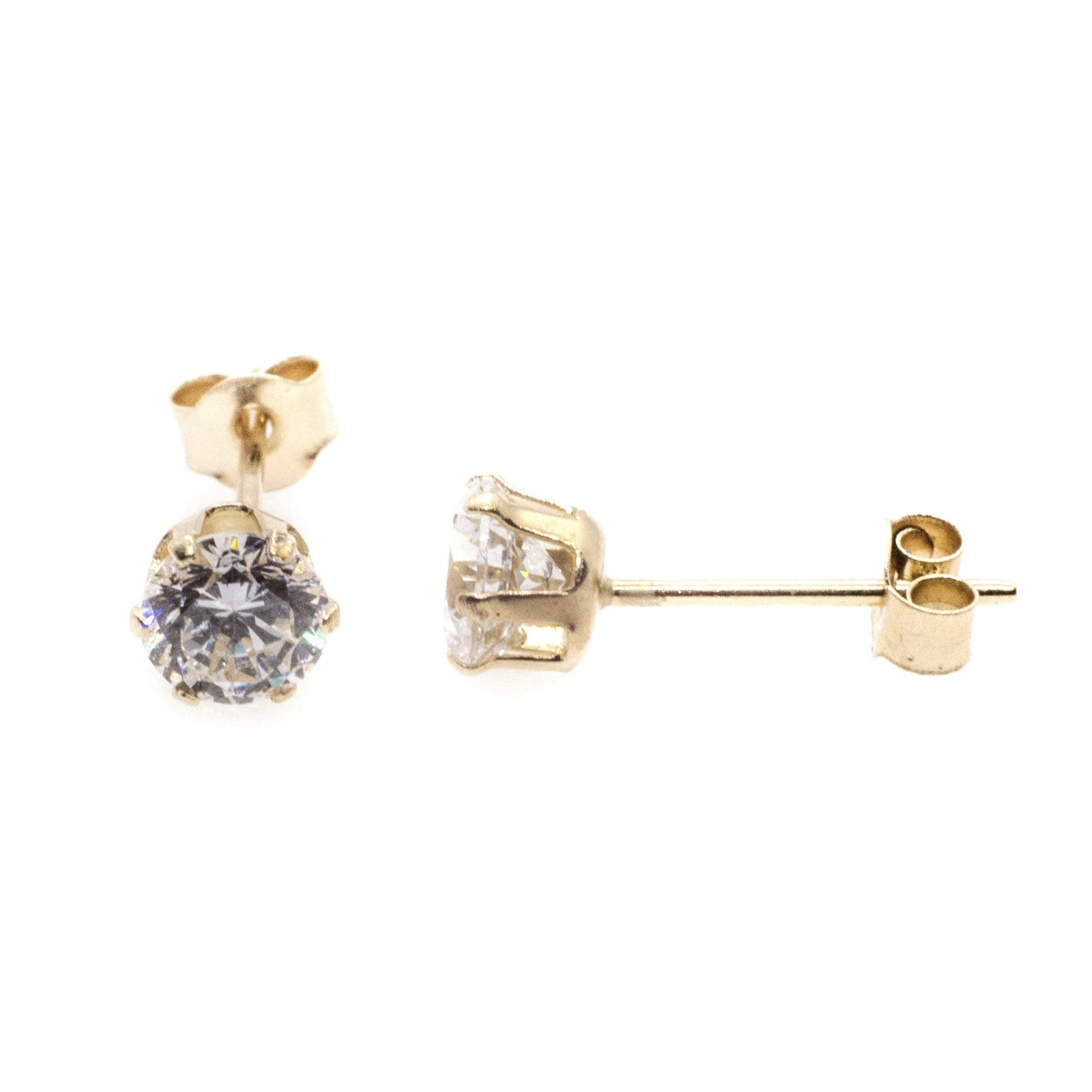 3mm CZ stud earrings 9ct yellow gold alt 2