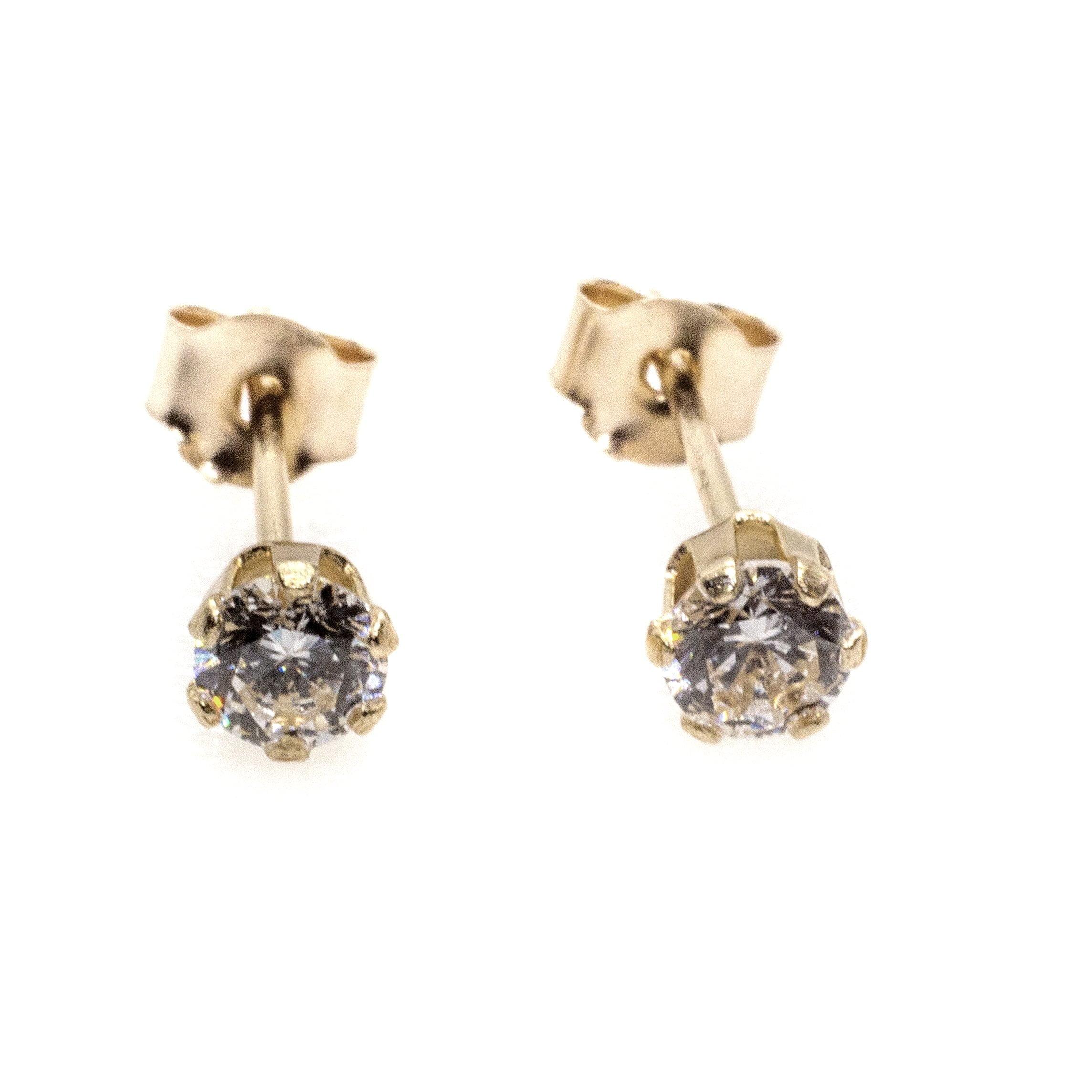 4mm CZ stud earrings 9ct yellow gold alt 1
