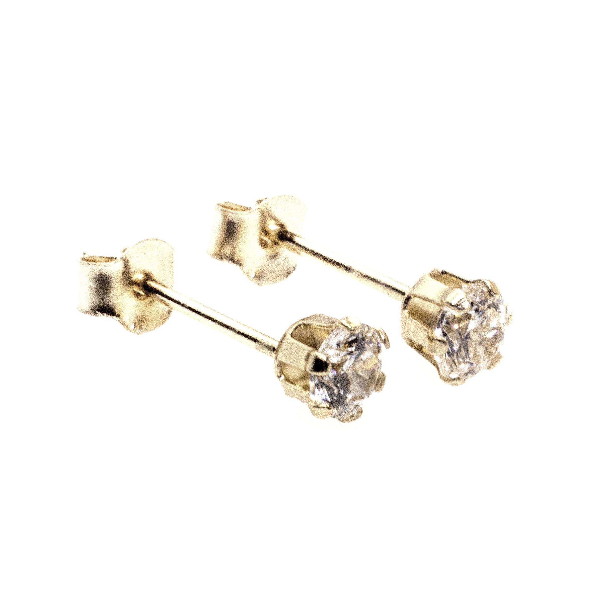 4mm CZ stud earrings 9ct yellow gold alt 2