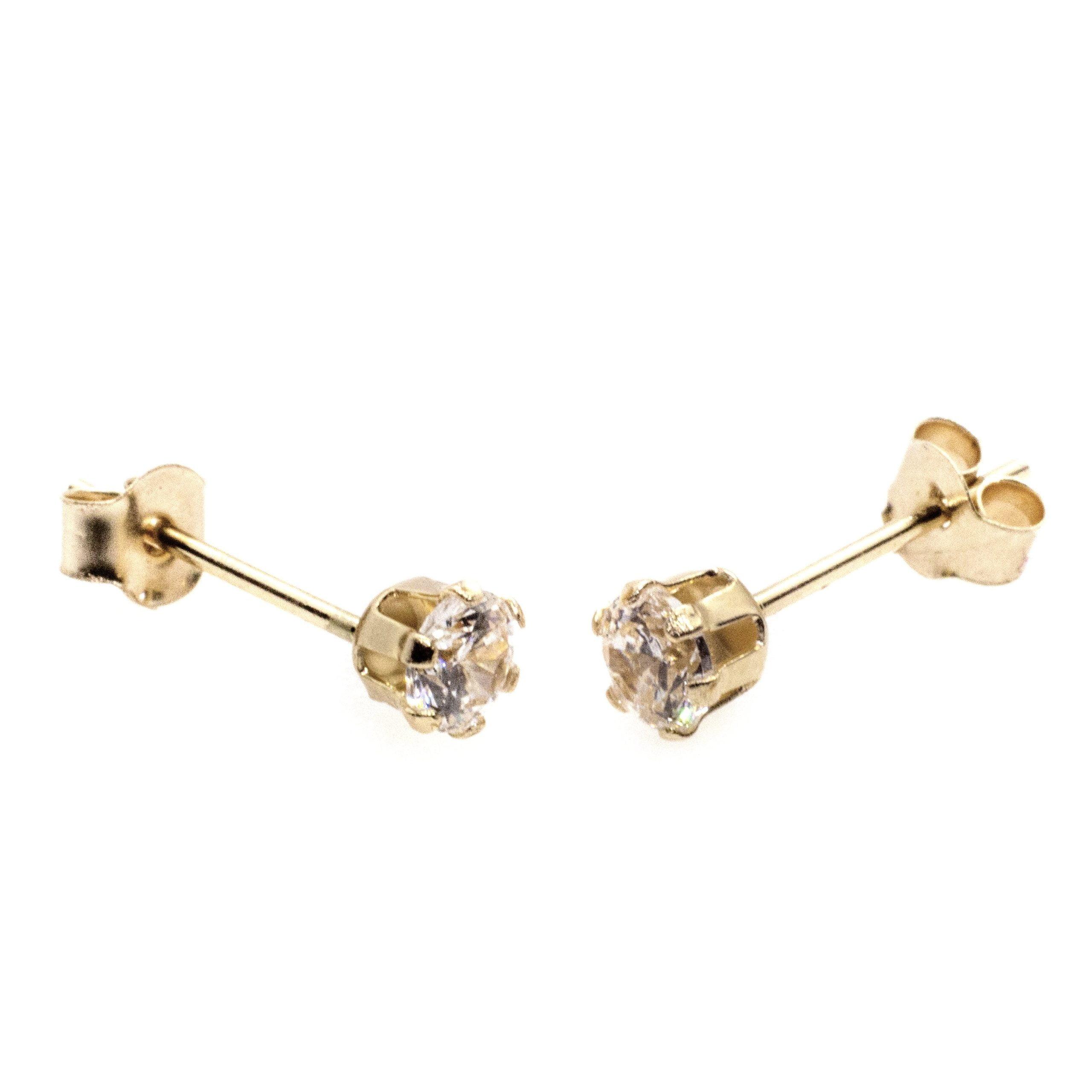 4mm CZ stud earrings 9ct yellow gold alt 3