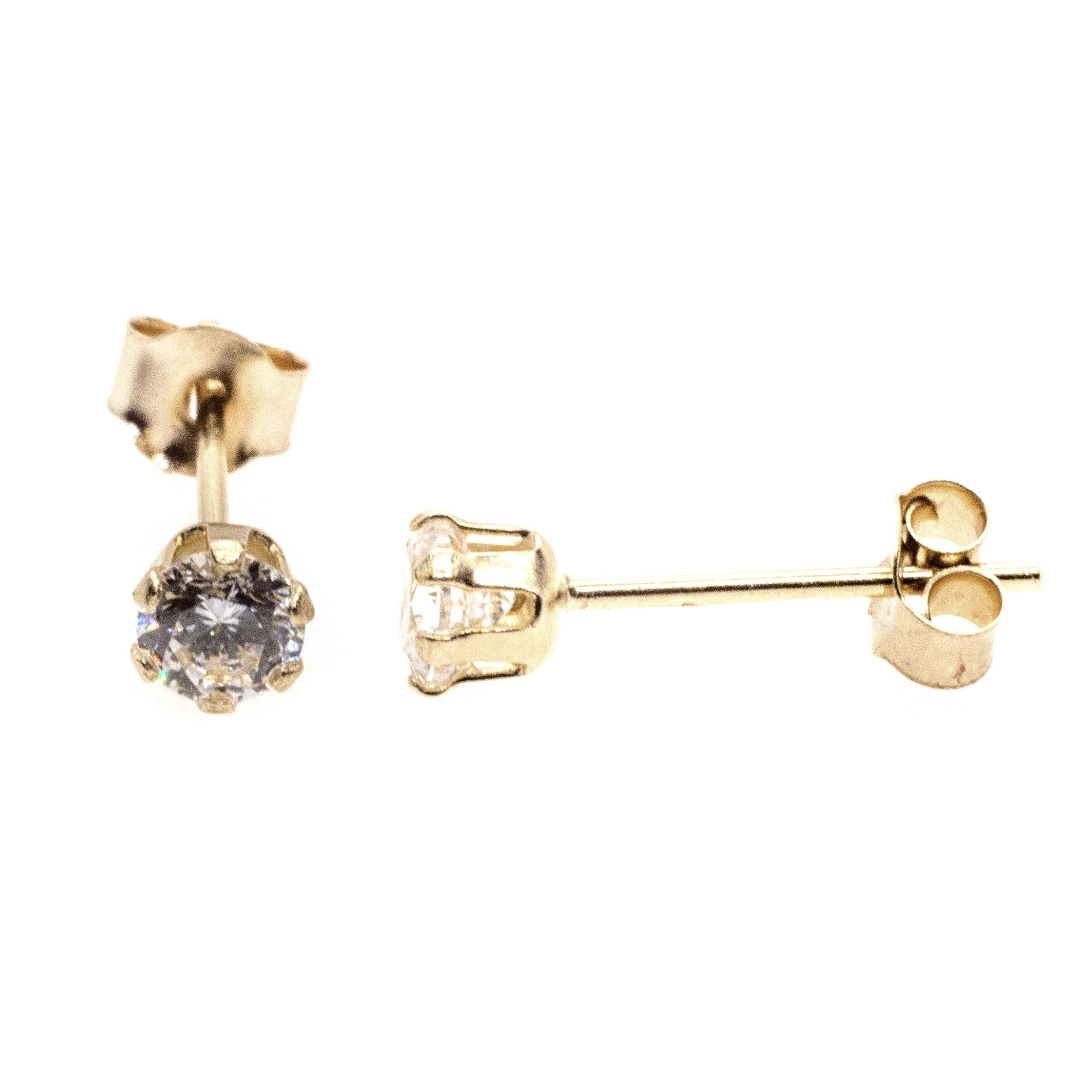 4mm CZ stud earrings 9ct yellow gold alt 4