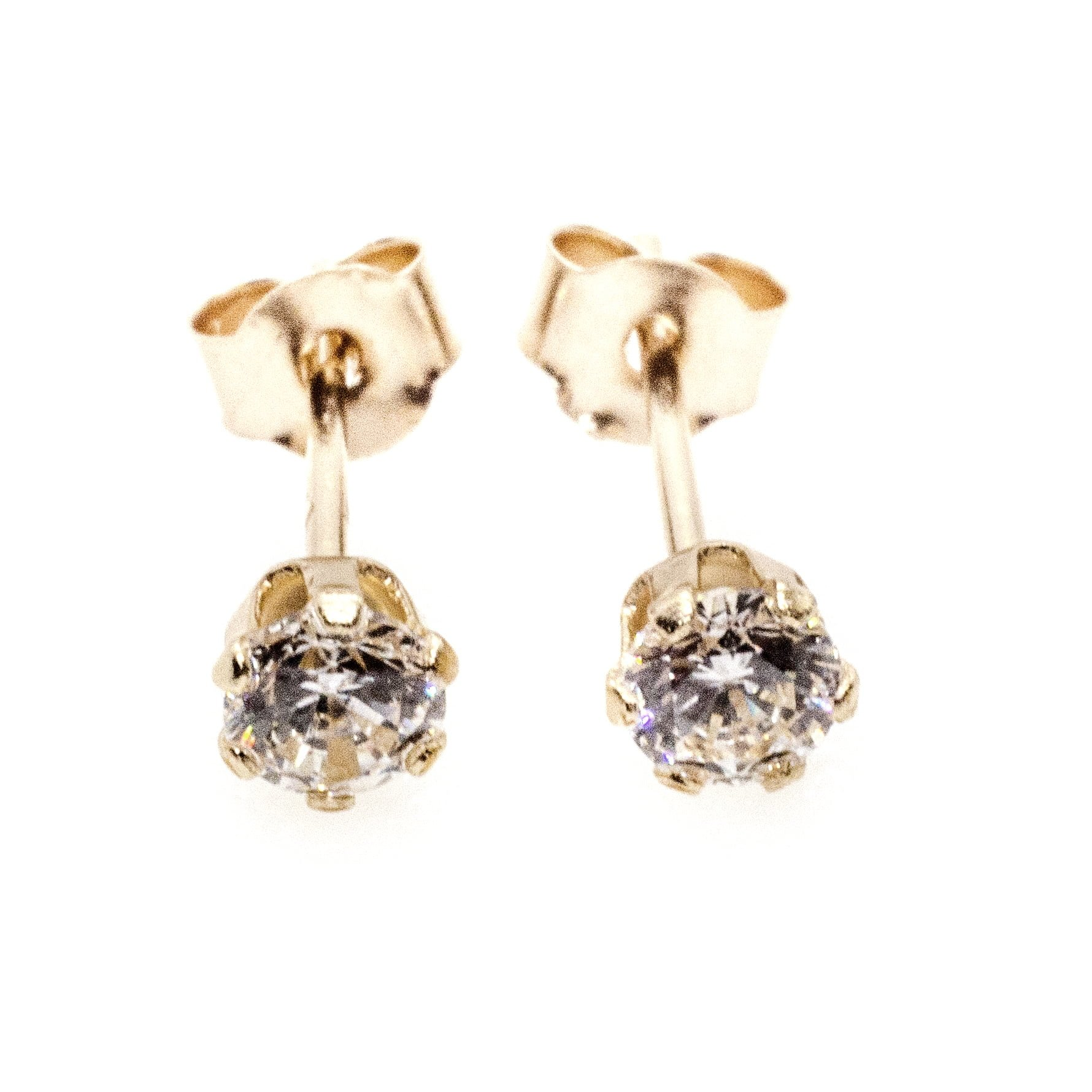 4mm CZ stud earrings 9ct yellow gold