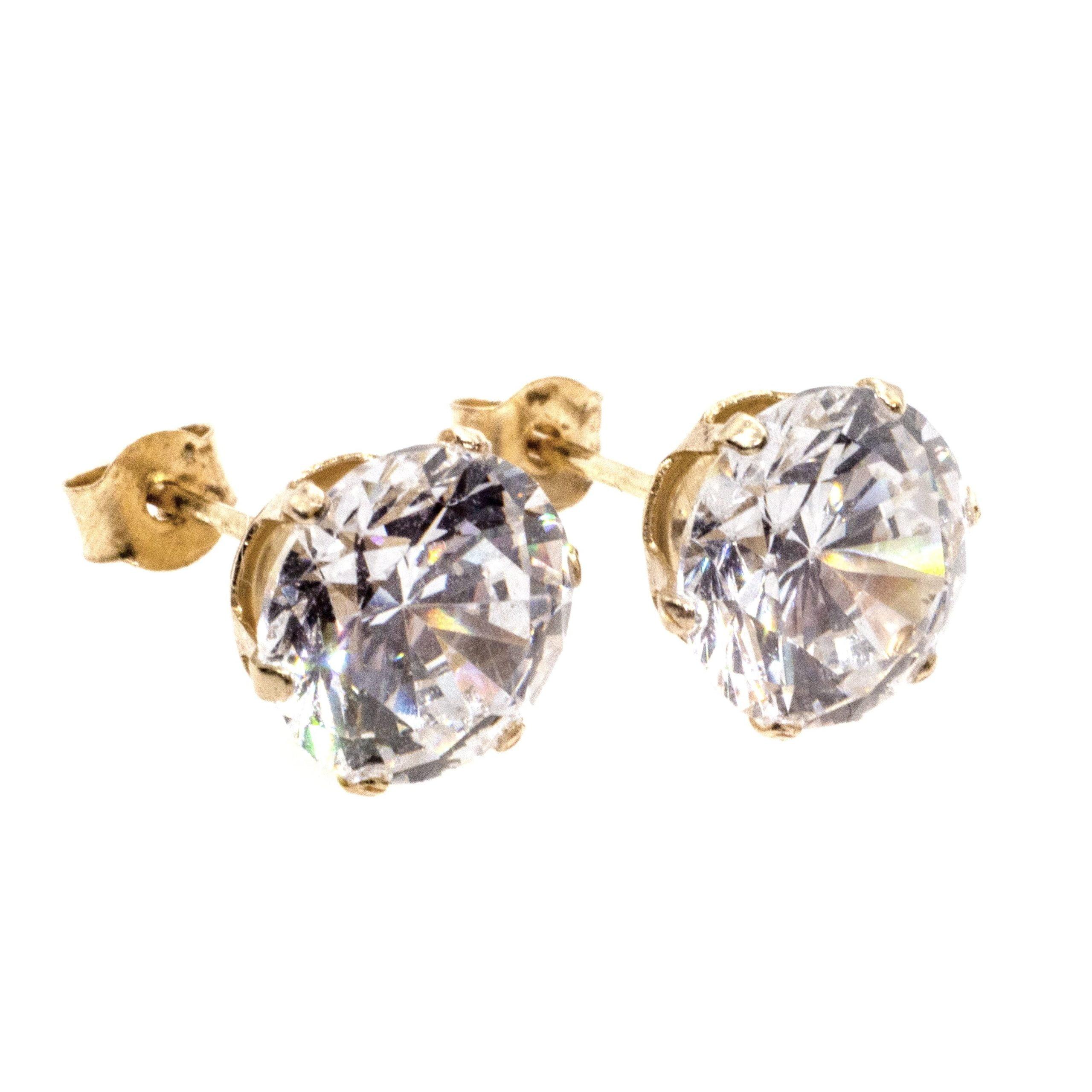 7mm CZ stud earrings 9ct yellow gold alt 3
