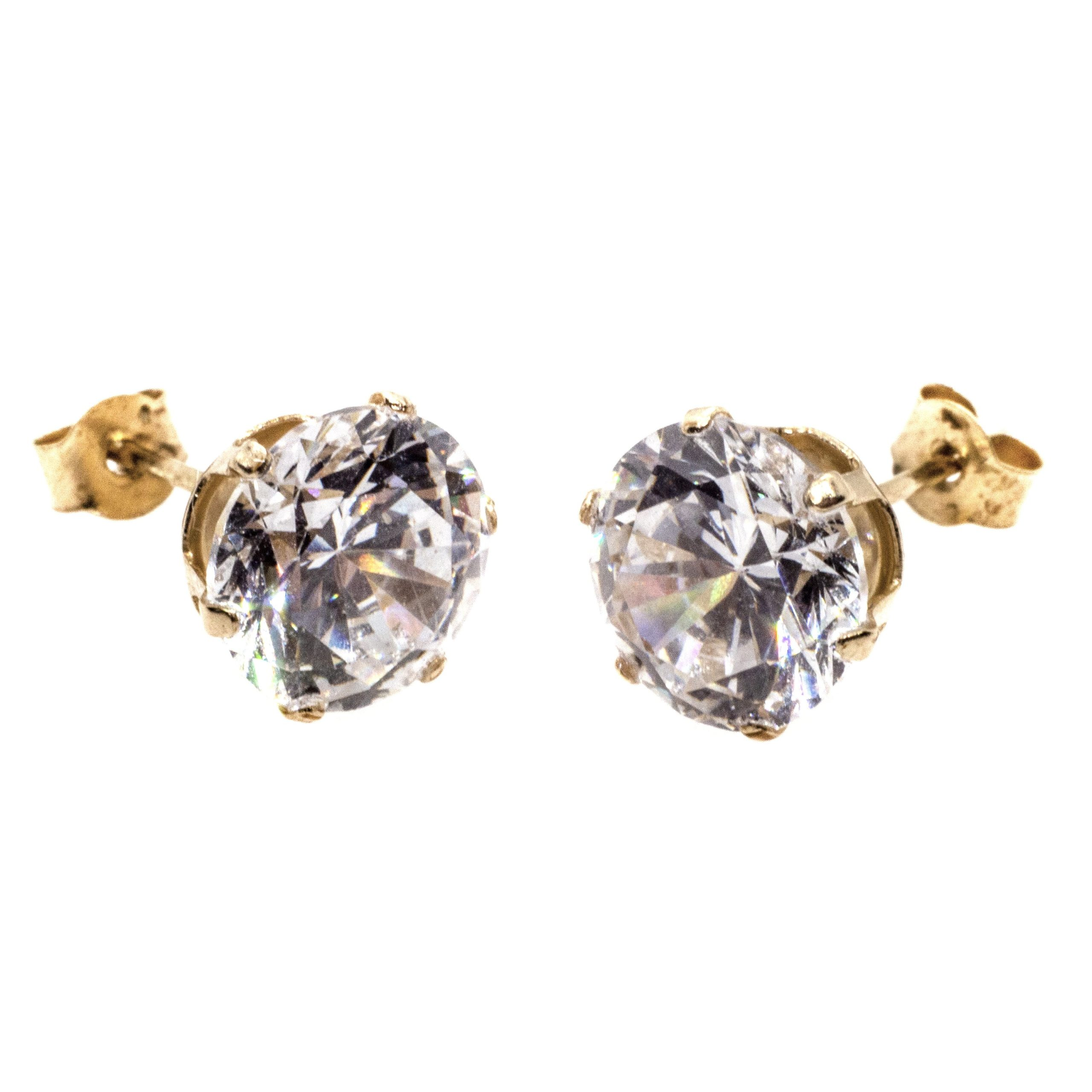 7mm CZ stud earrings 9ct yellow gold