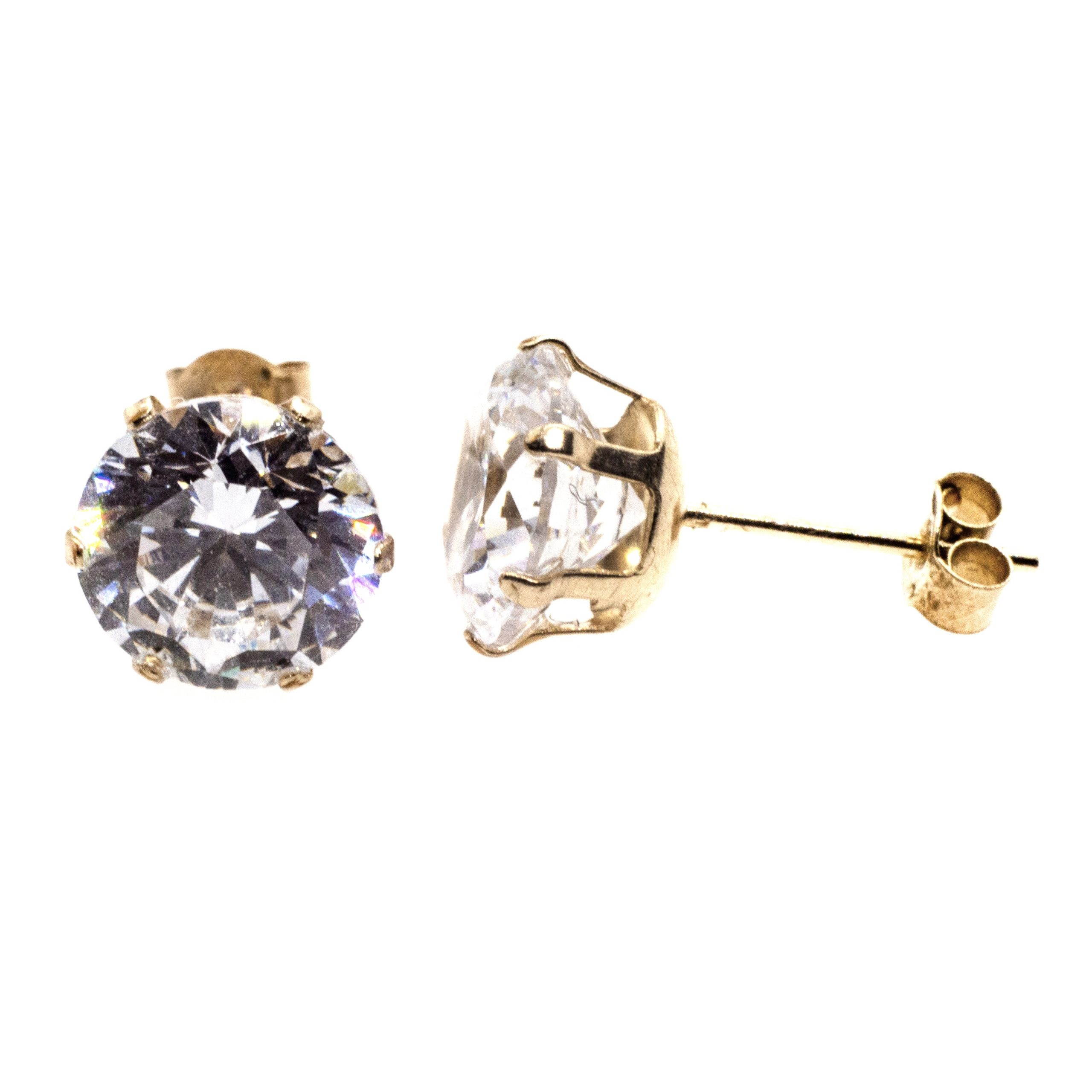 7mm CZ stud earrings 9ct yellow gold alt 4