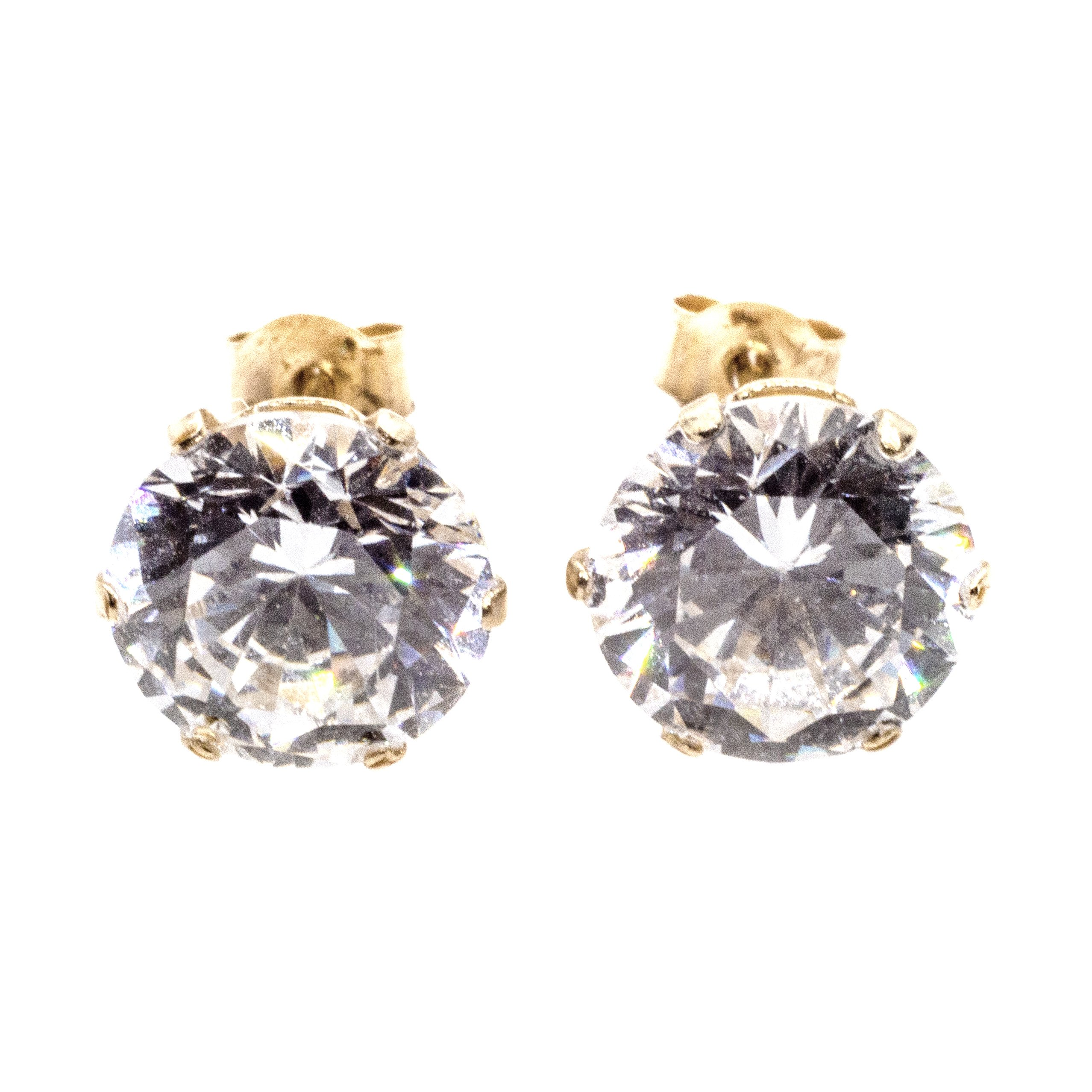 7mm CZ stud earrings 9ct yellow gold alt 5