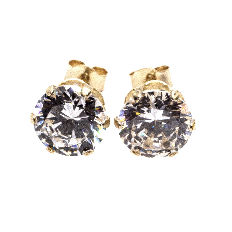 6mm CZ stud earrings 9ct yellow gold alt 1