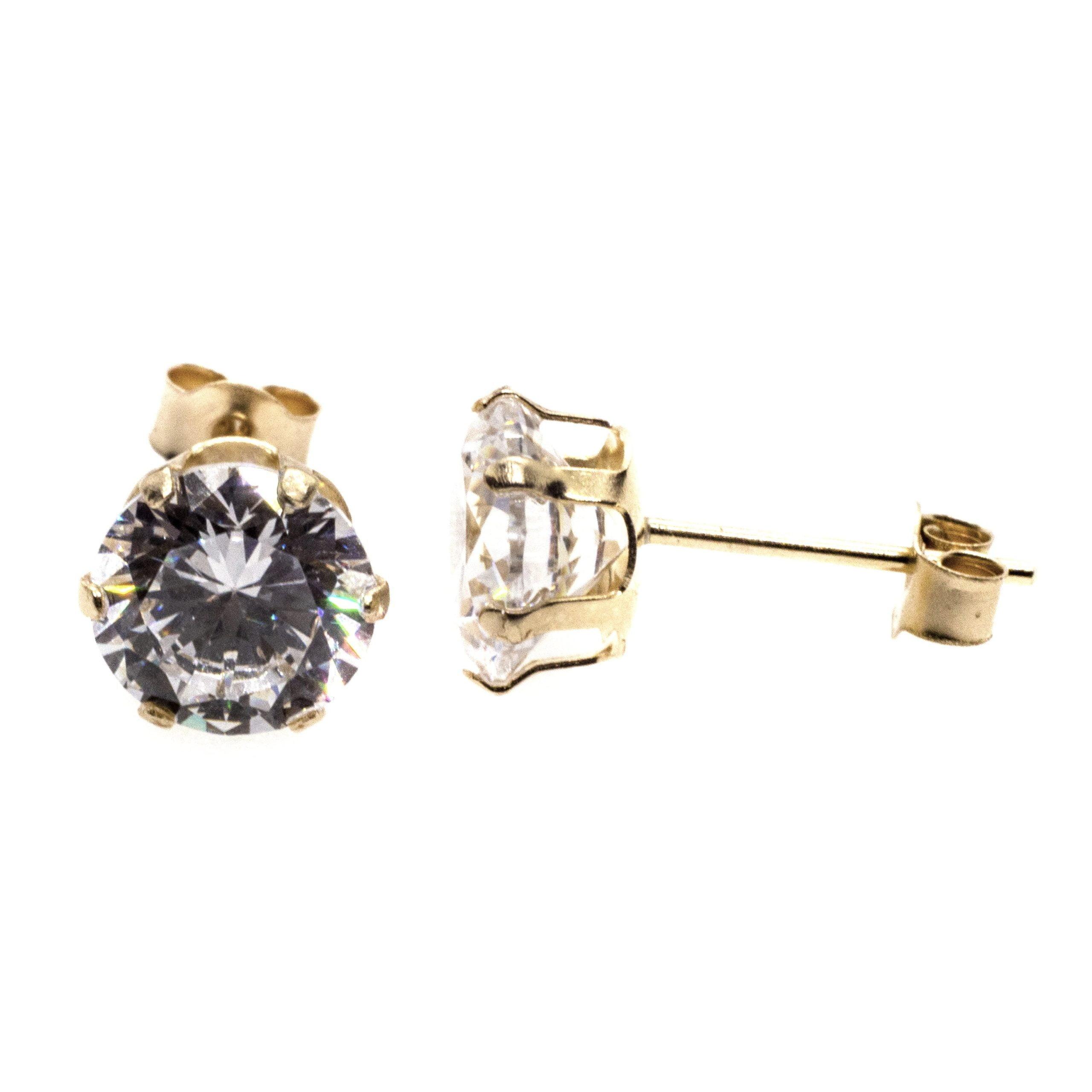 6mm CZ stud earrings 9ct yellow gold alt 3