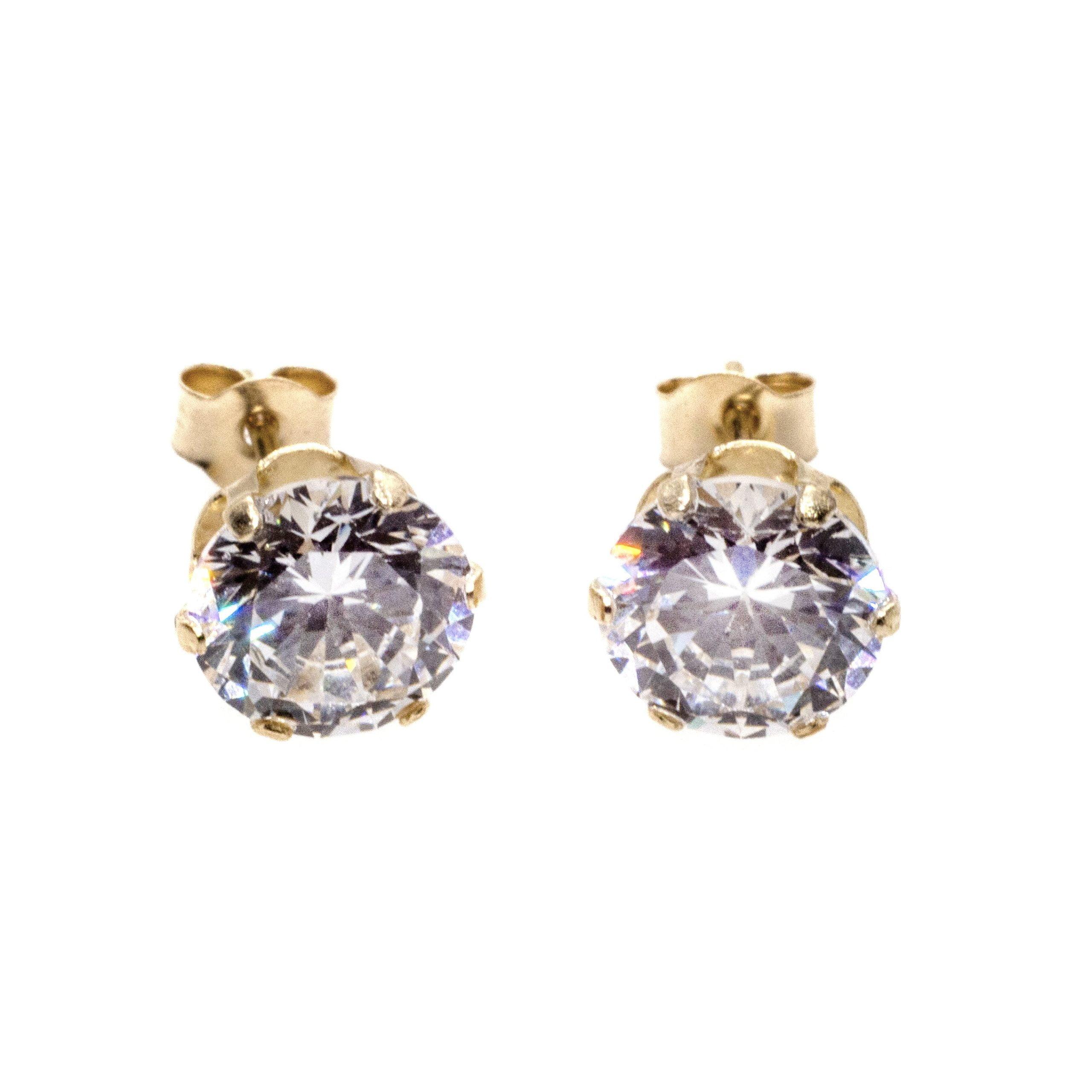 6mm CZ stud earrings 9ct yellow gold alt 4