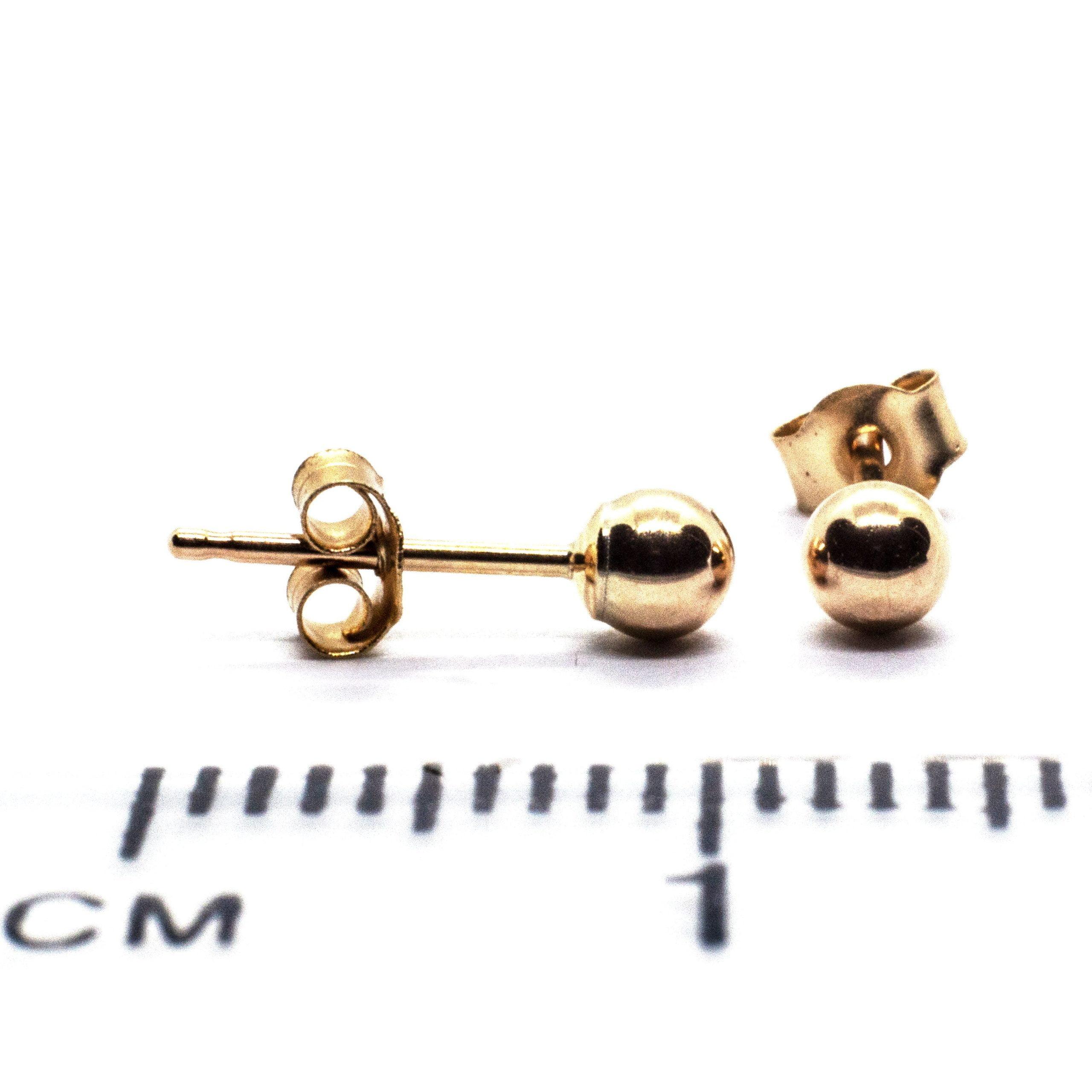 3mm 9ct gold ball earrings ruler