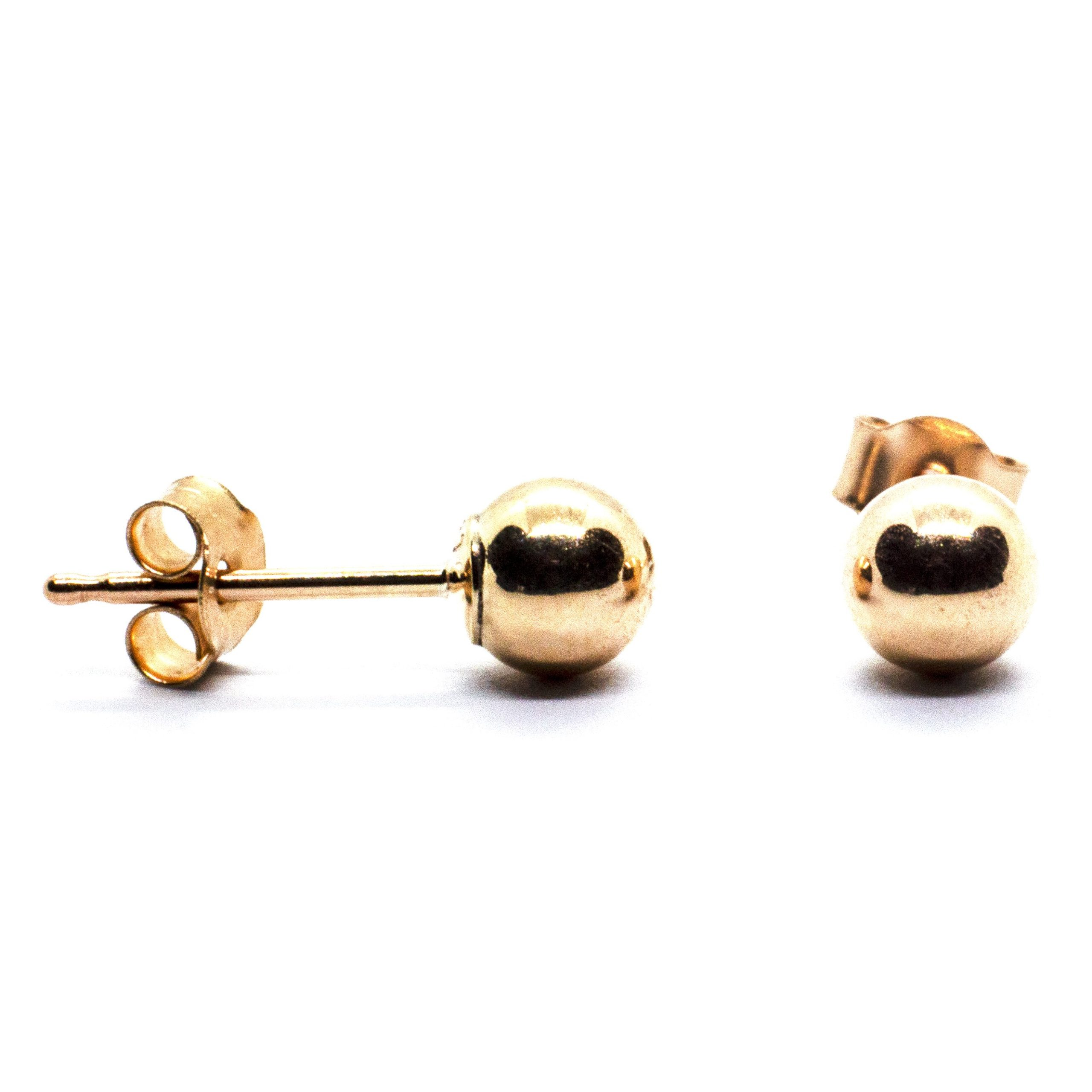 4mm 9ct gold ball earrings