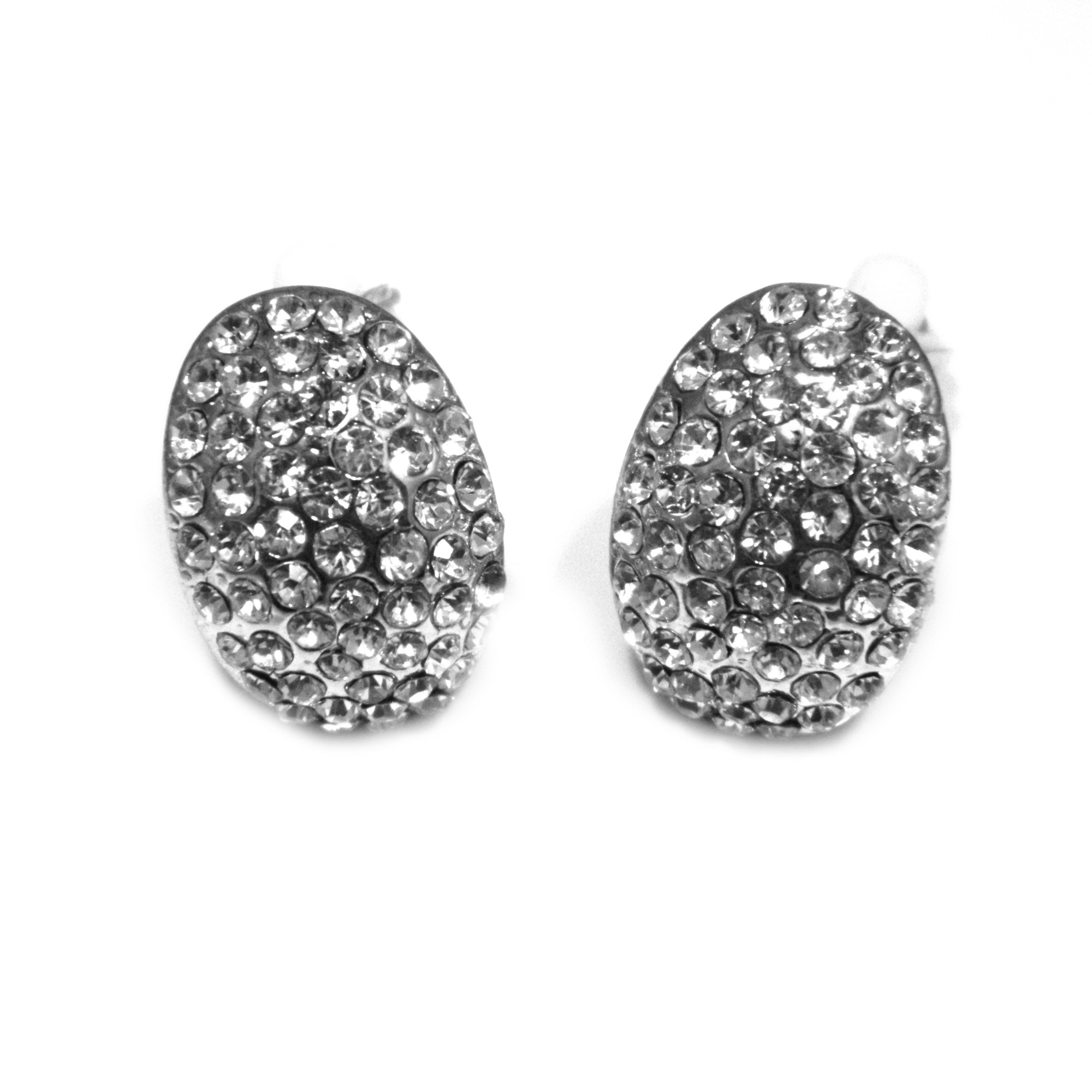 Oval crystal clip on earrings in silver plate
