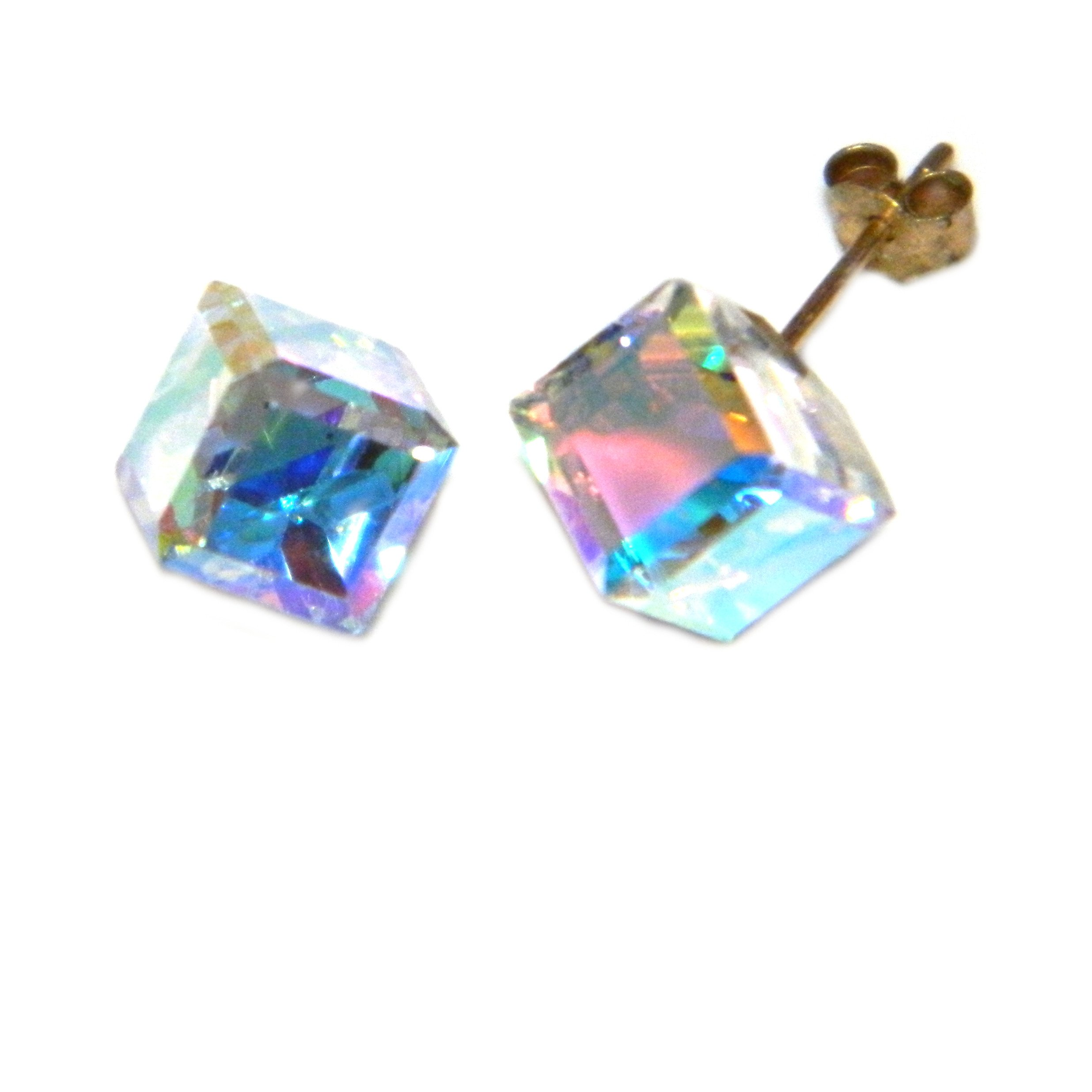 9ct gold crystal cube earrings