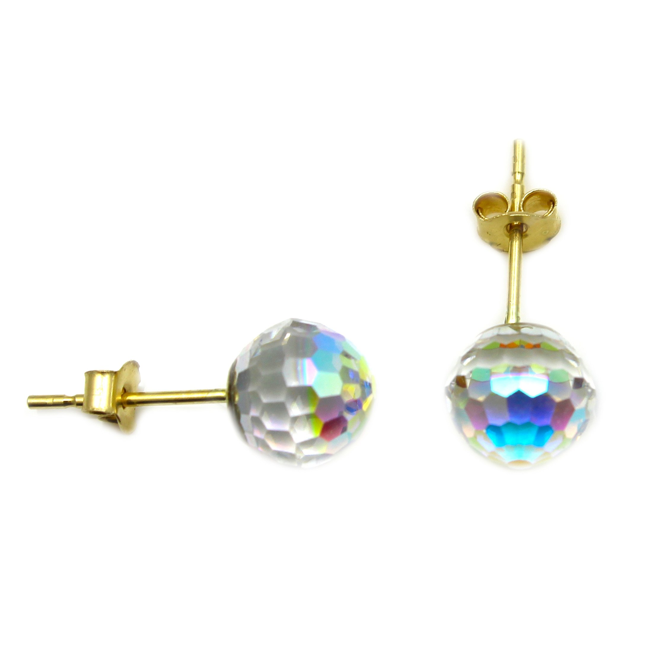 9ct gold crystal ball earrings 6mm