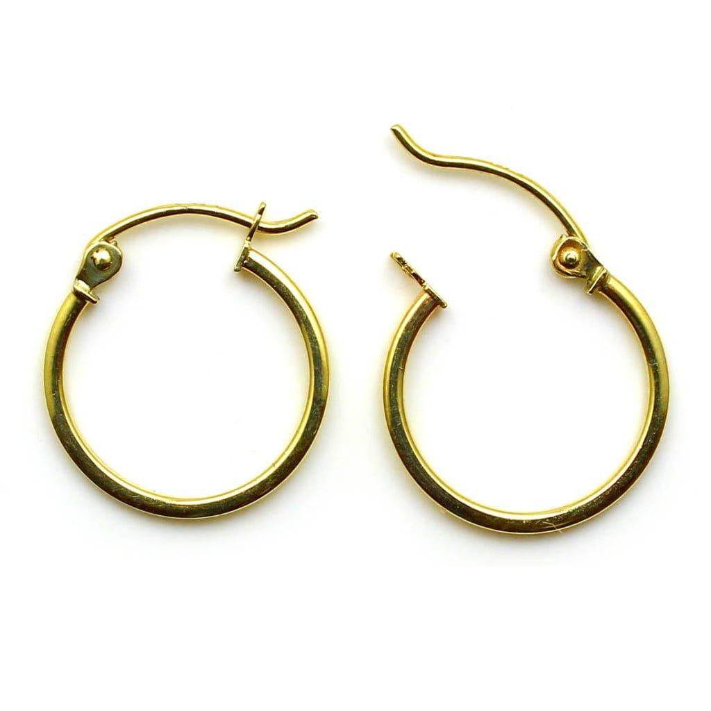 15mm heavy hinged 9ct yellow gold hoops