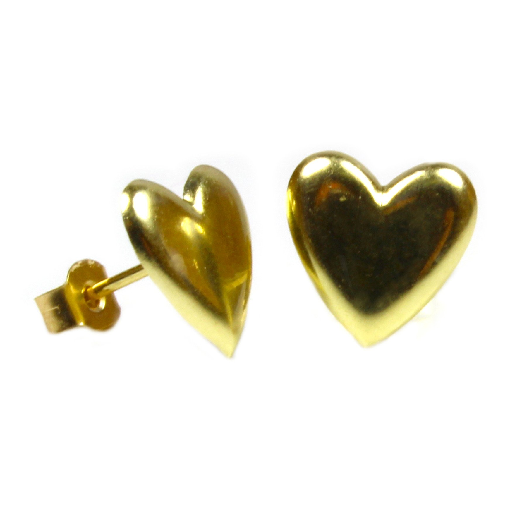 9ct yellow gold heart earrings