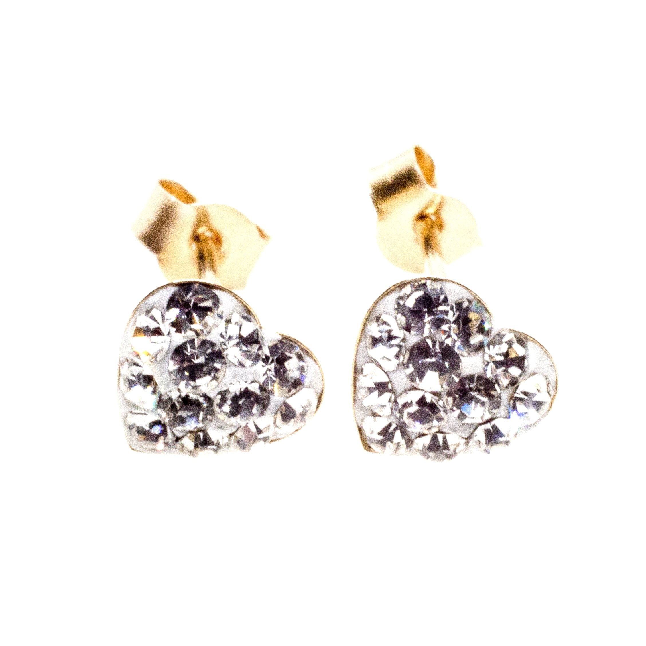 9ct gold crystal heart earrings close