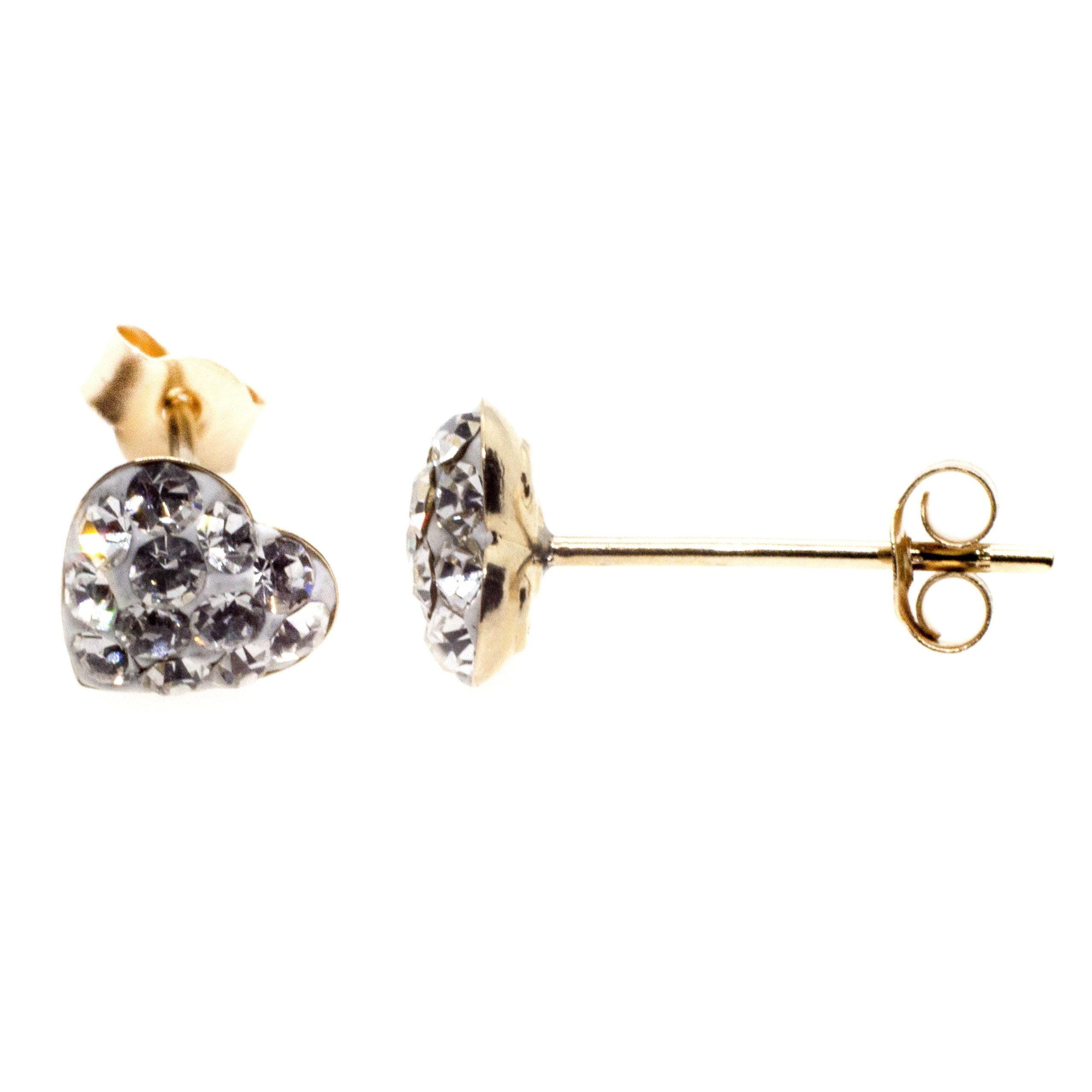 9ct gold crystal heart earrings side