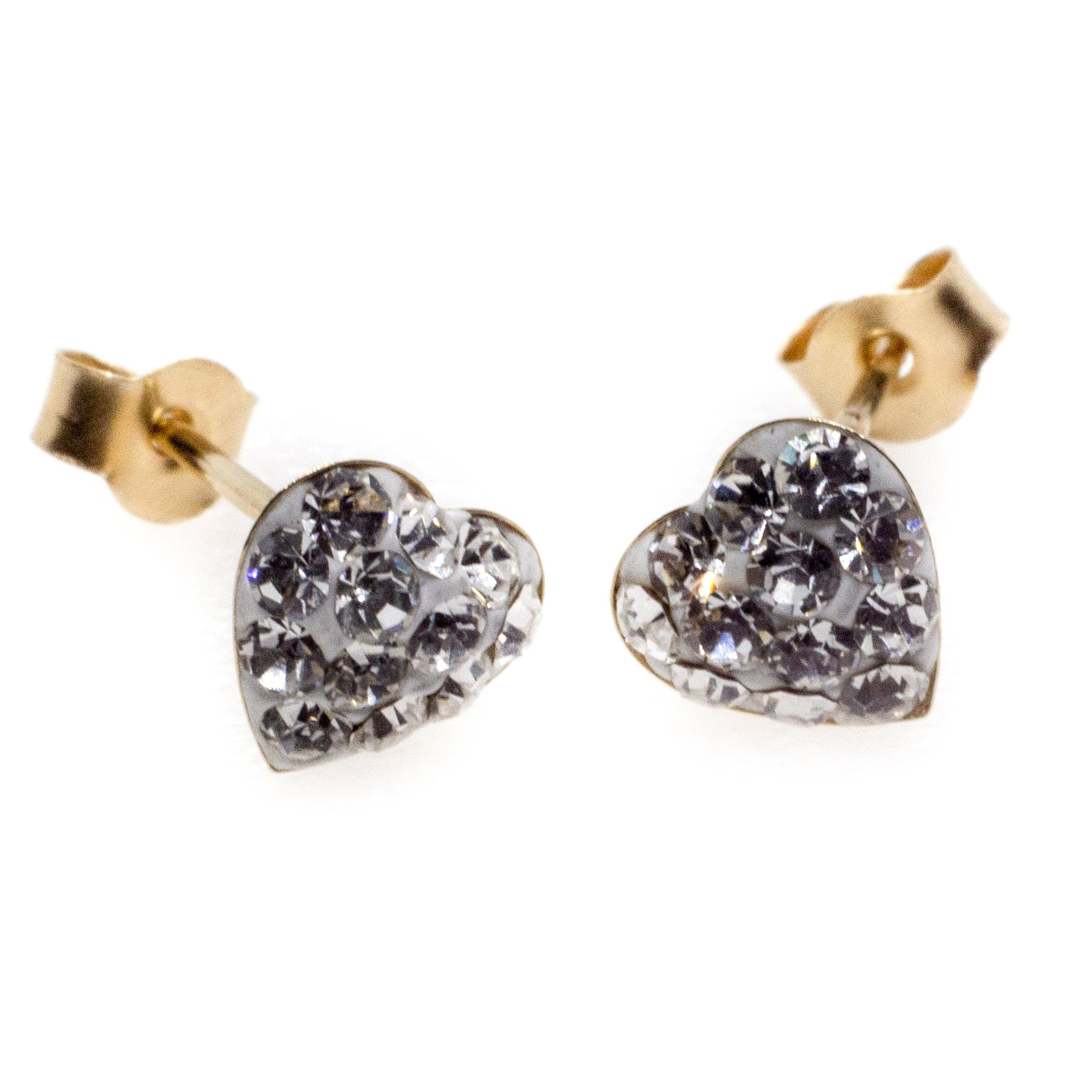 9ct gold crystal heart earrings