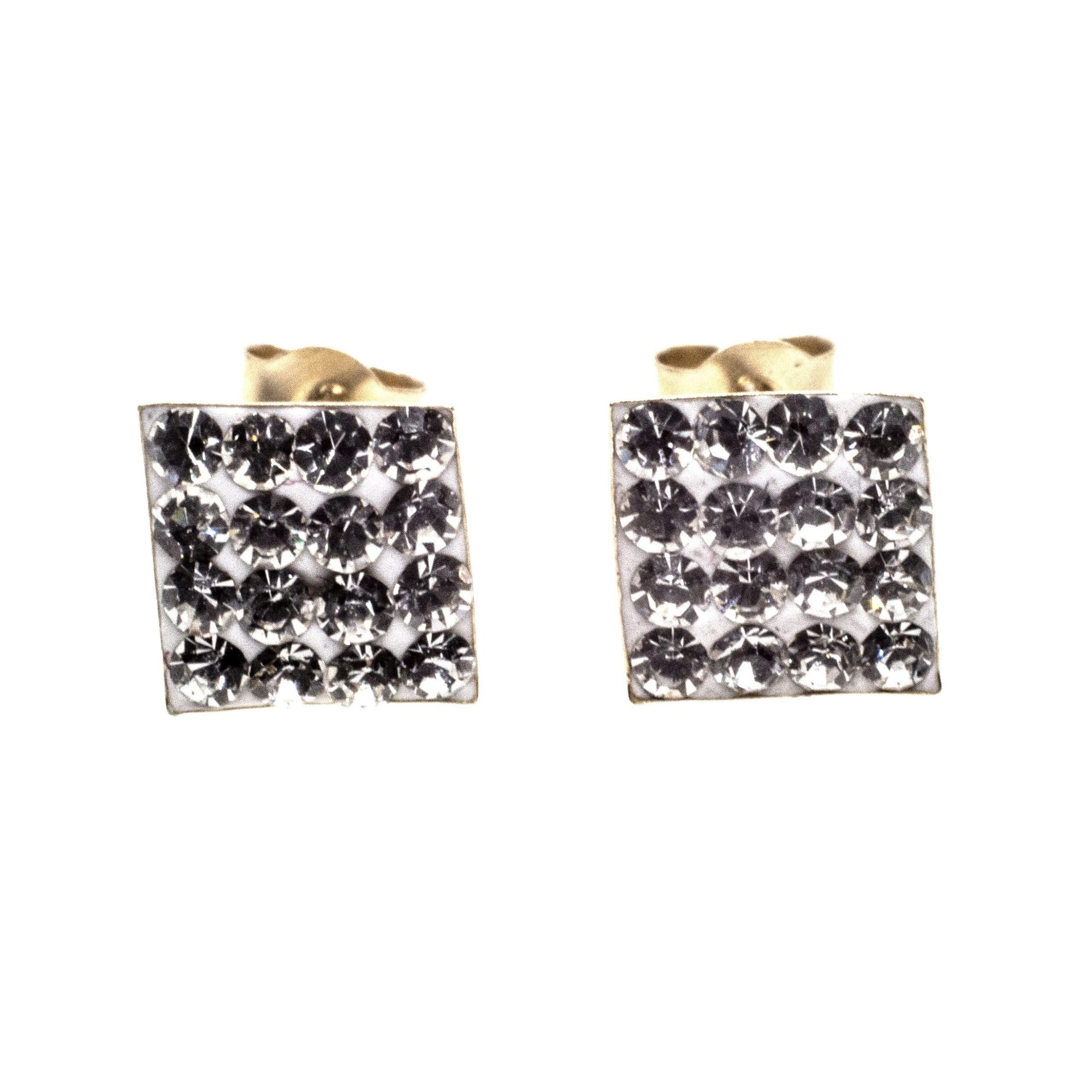7mm square stud earring 9ct gold with Austrian crystal gems alt 4
