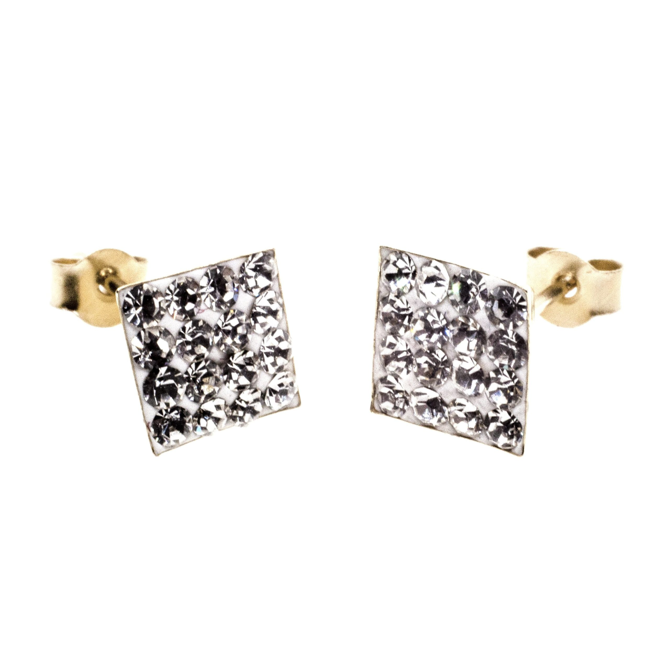 7mm square stud earring 9ct gold with Austrian crystal gems alt 3