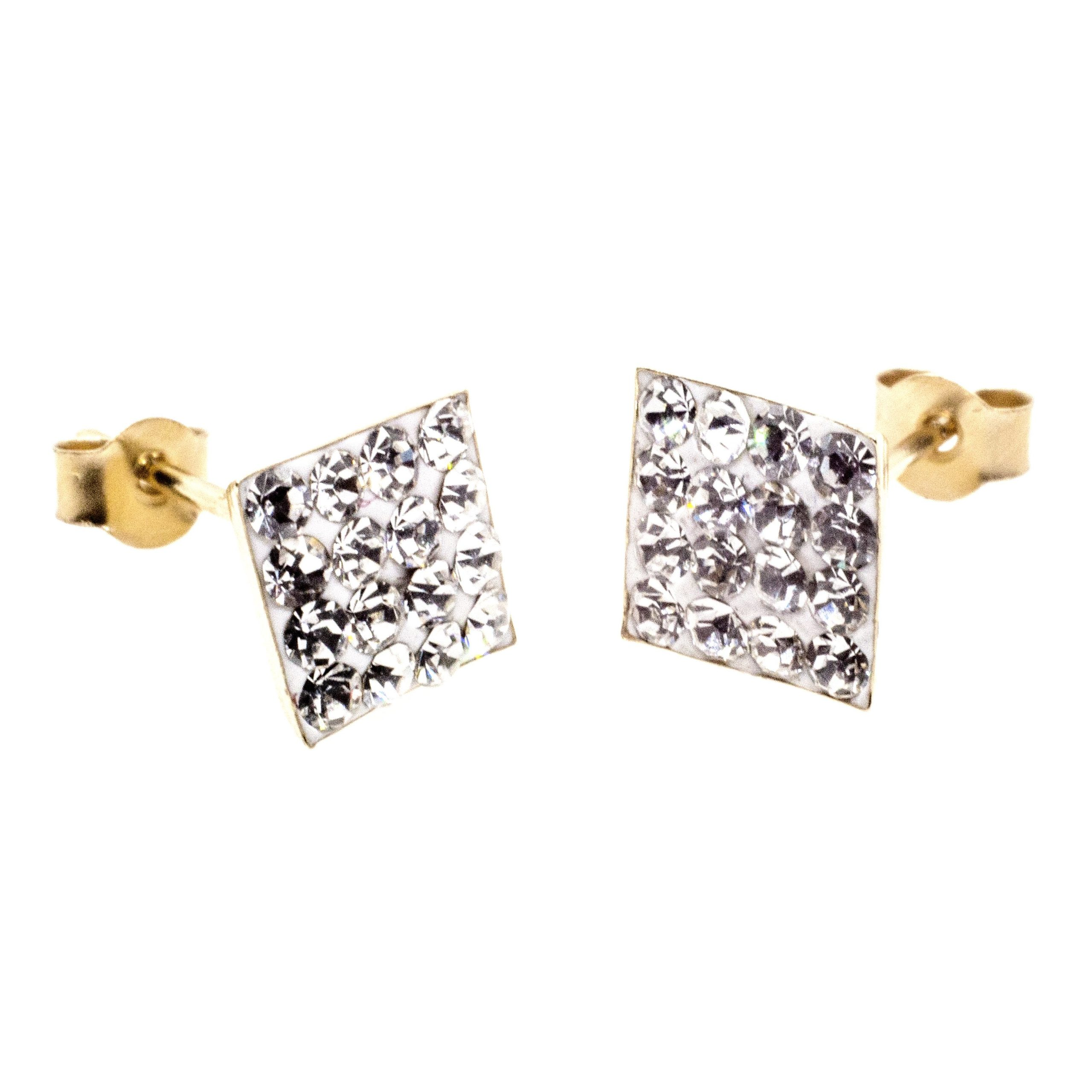 7mm square stud earring 9ct gold with Austrian crystal gems