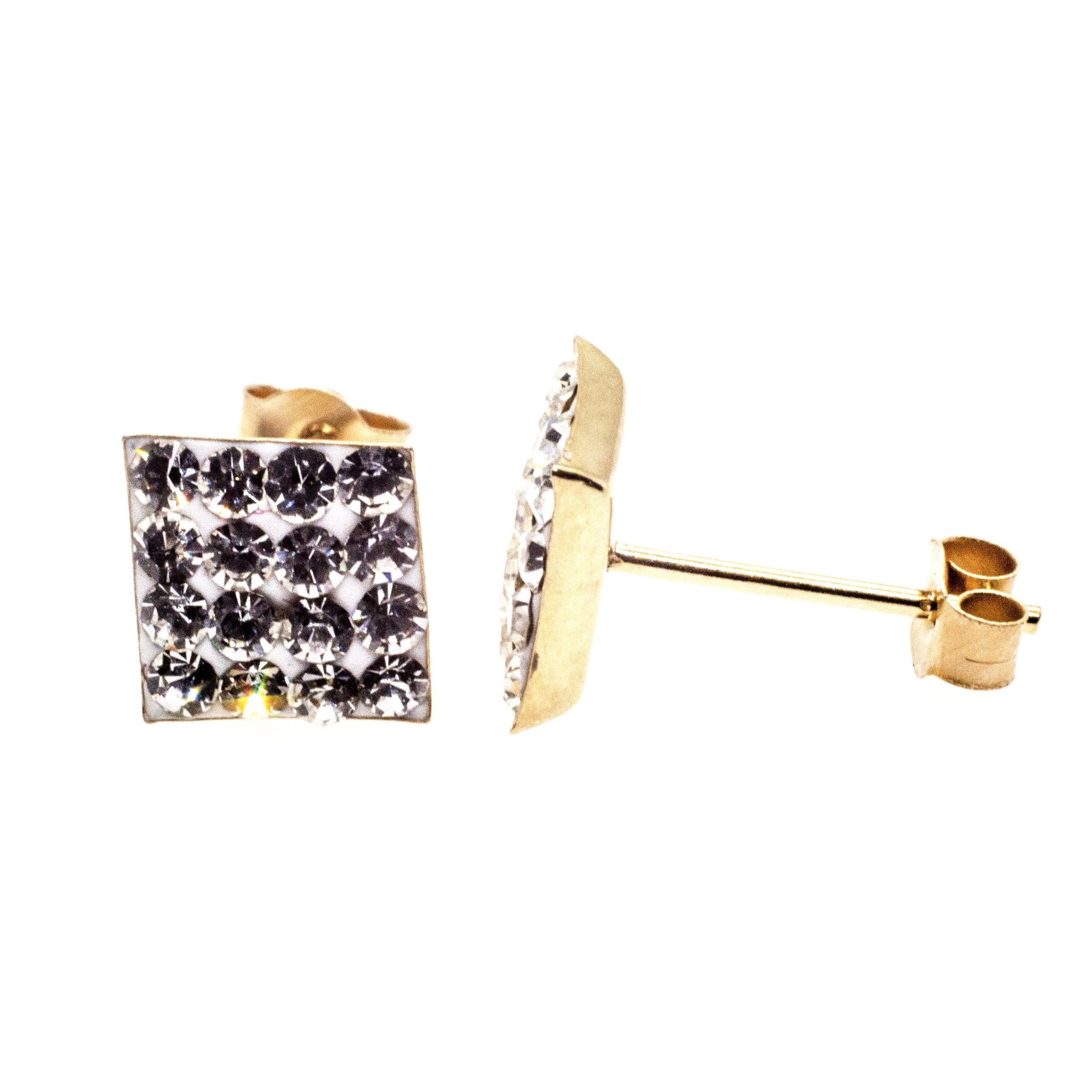 7mm square stud earring 9ct gold with Austrian crystal gems alt 2
