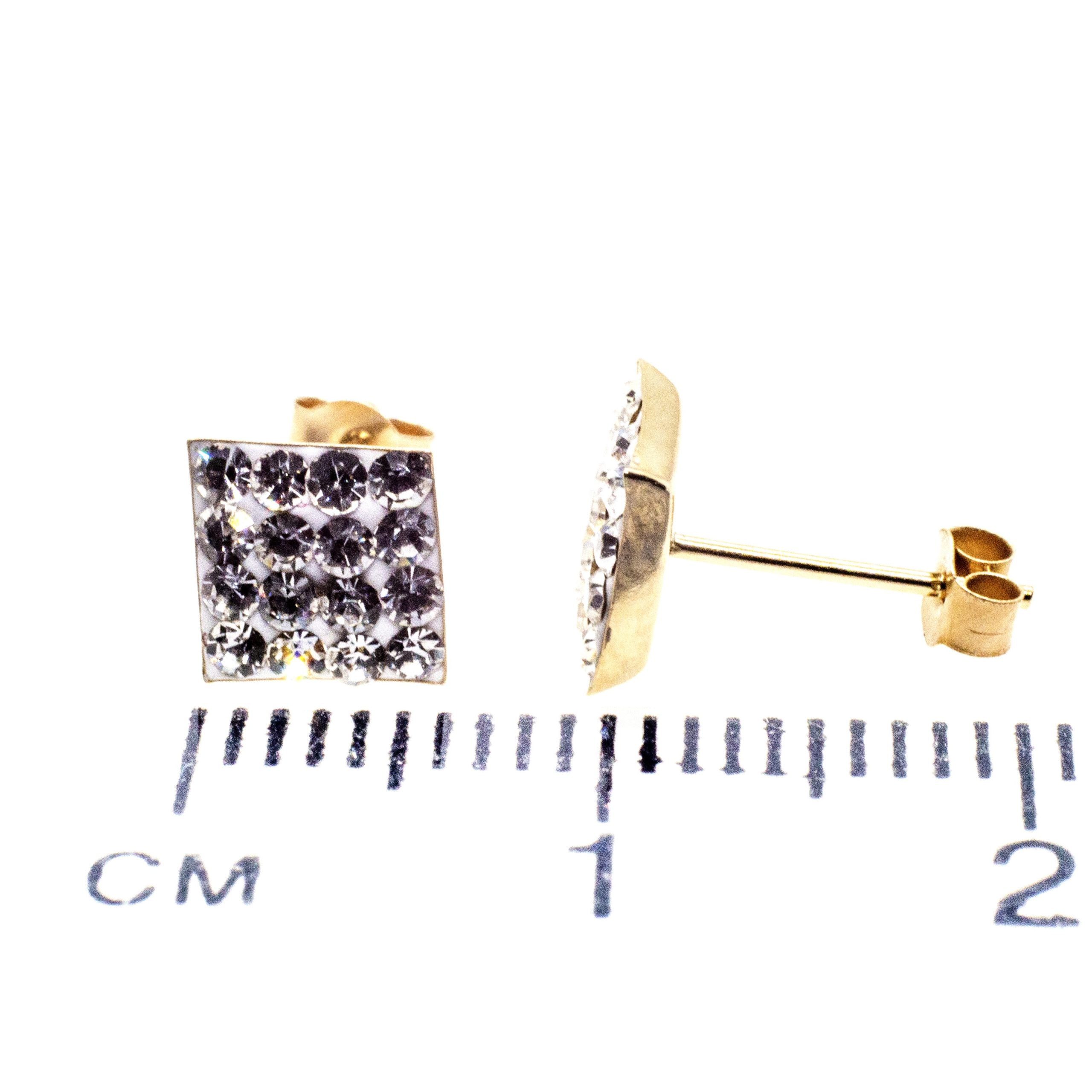 7mm square stud earring 9ct gold with Austrian crystal gems ruler