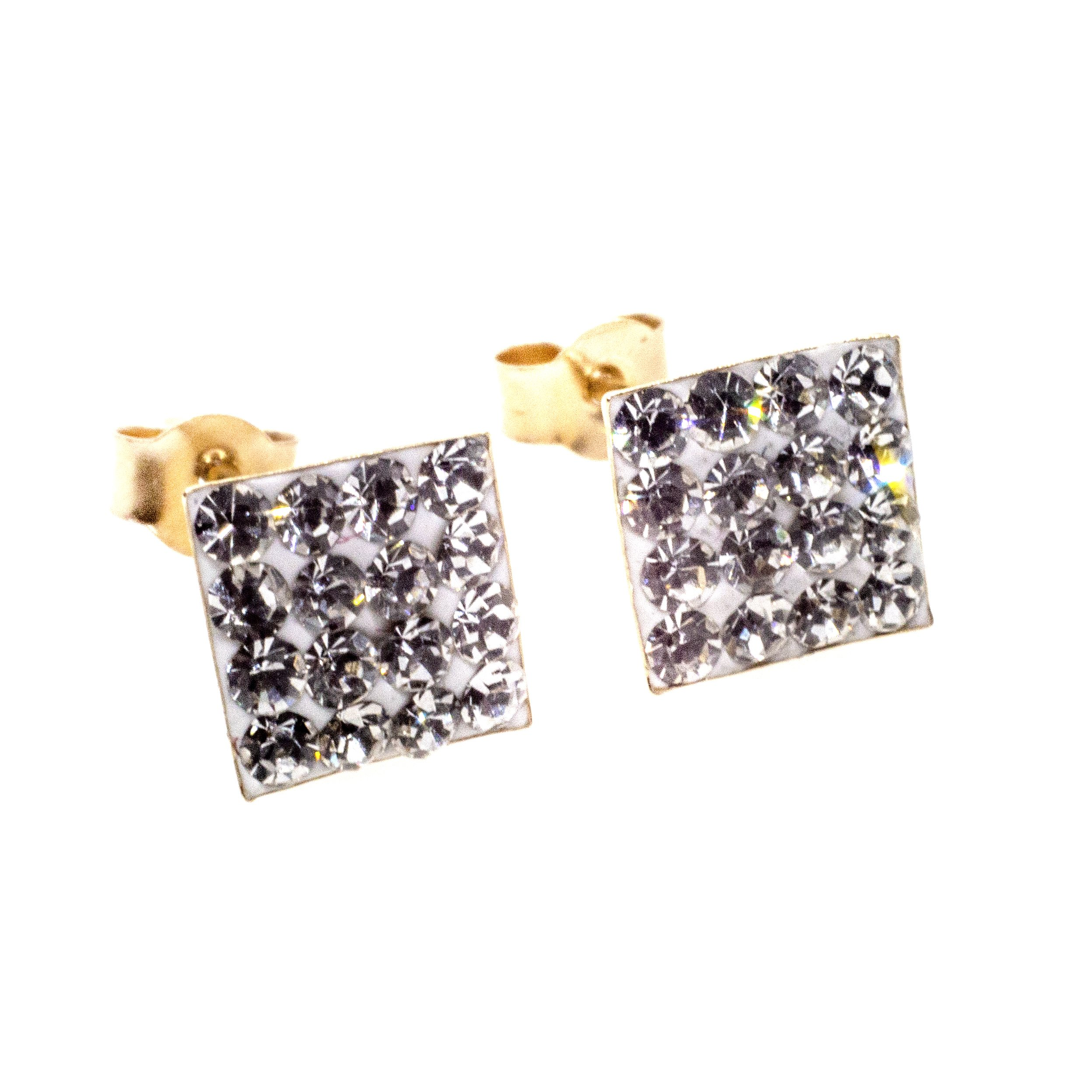 7mm square stud earring 9ct gold with Austrian crystal gems alt 1