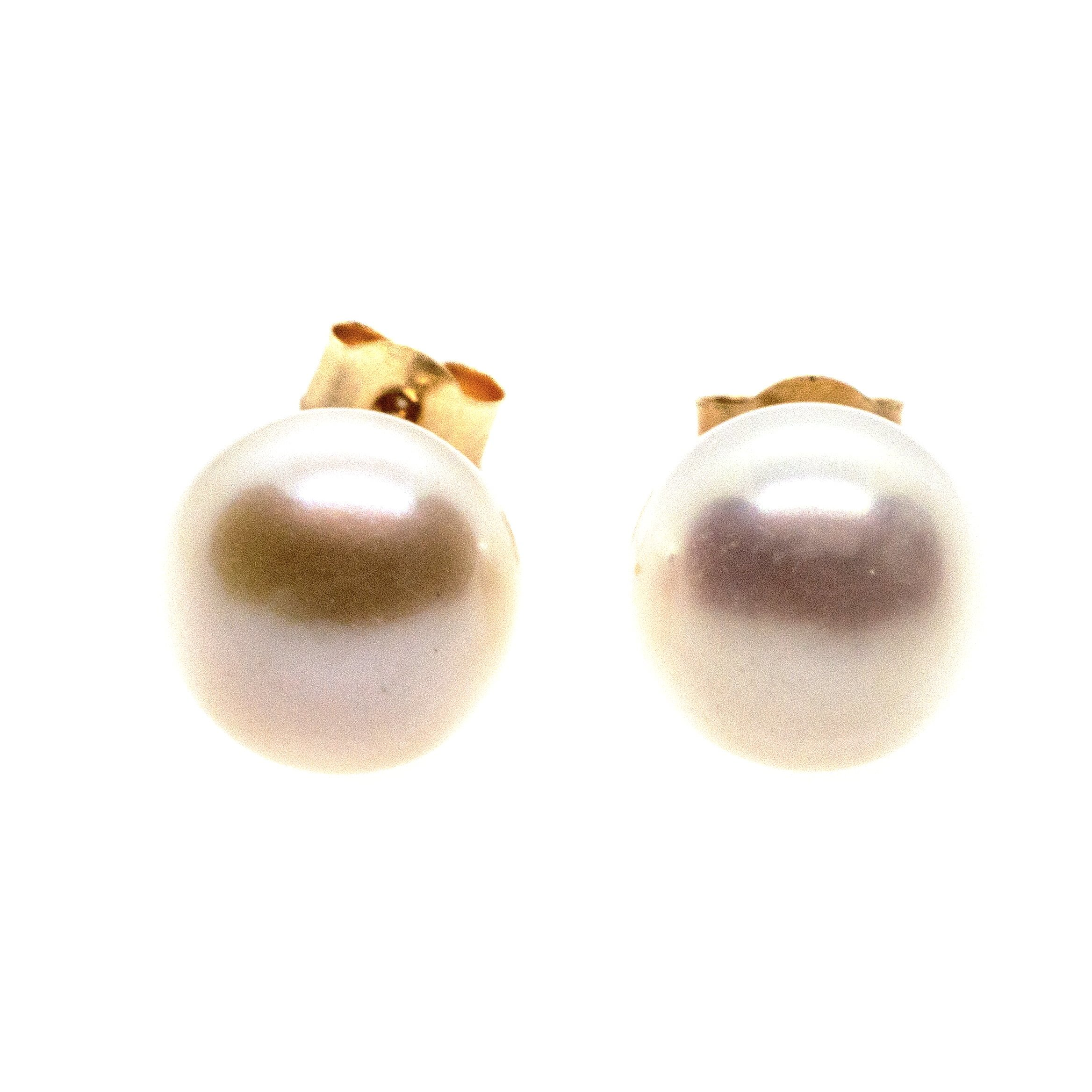7mm fresh water pearl stud earrings 9ct yellow gold alt 1